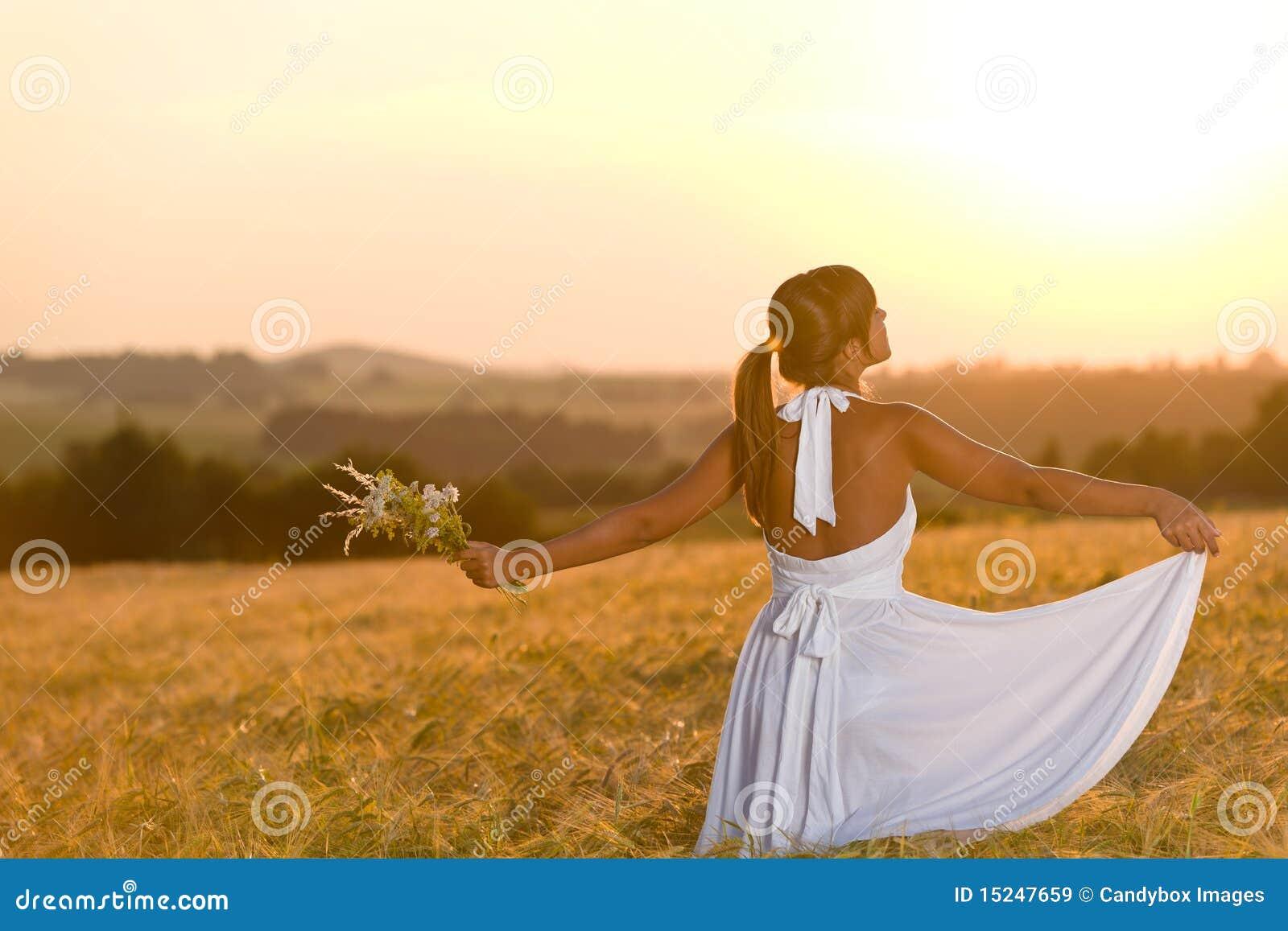 Romantic Woman In Sunset Corn Field Wear Dress Royalty ...