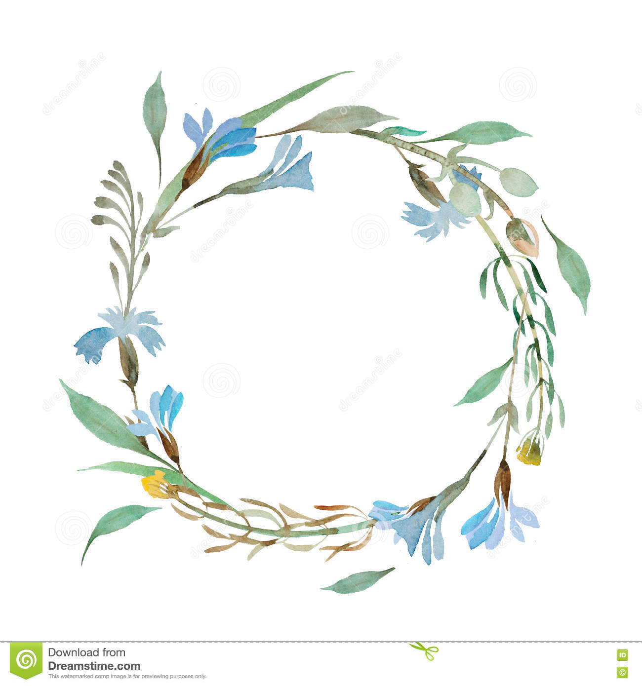Romantic wreath of blue flowers painted in watercolor stock romantic wreath of blue flowers painted in watercolor izmirmasajfo