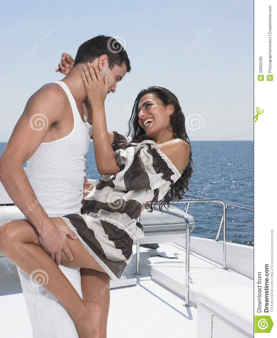 Romantic Young Couple Dancing On Yacht Stock Photo