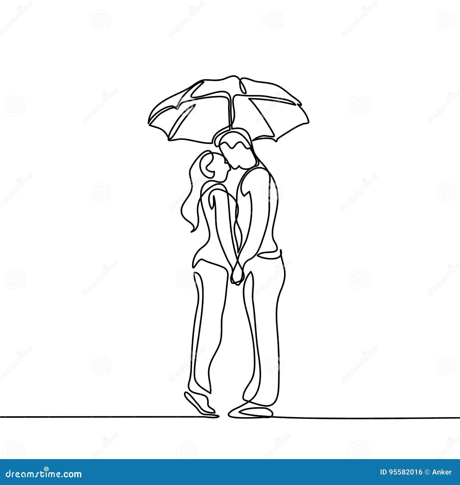 Romantic young couple kissing under umbrella stock vector