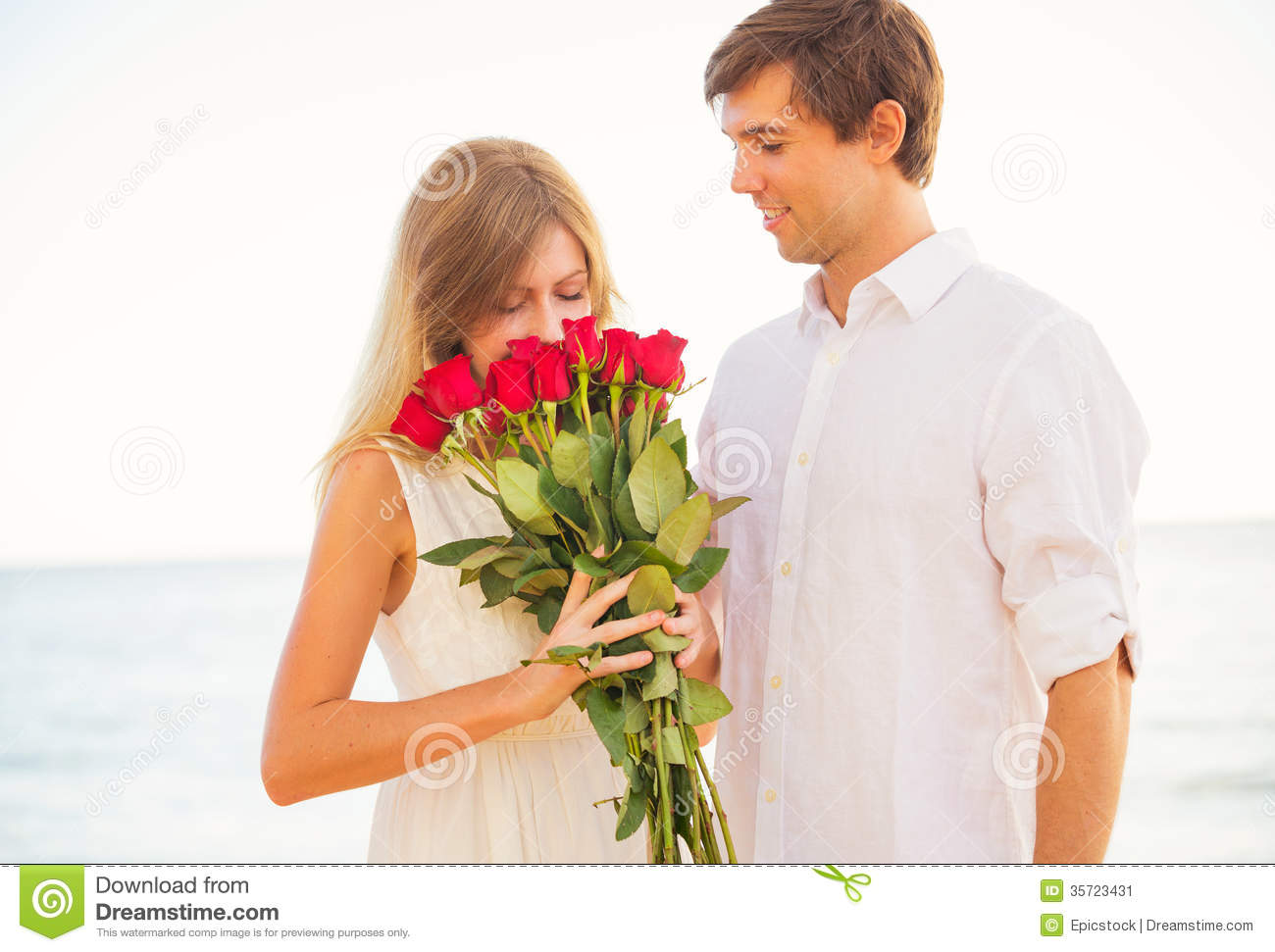 Romantic Young Couple In Love Man Giving Beautiful Young