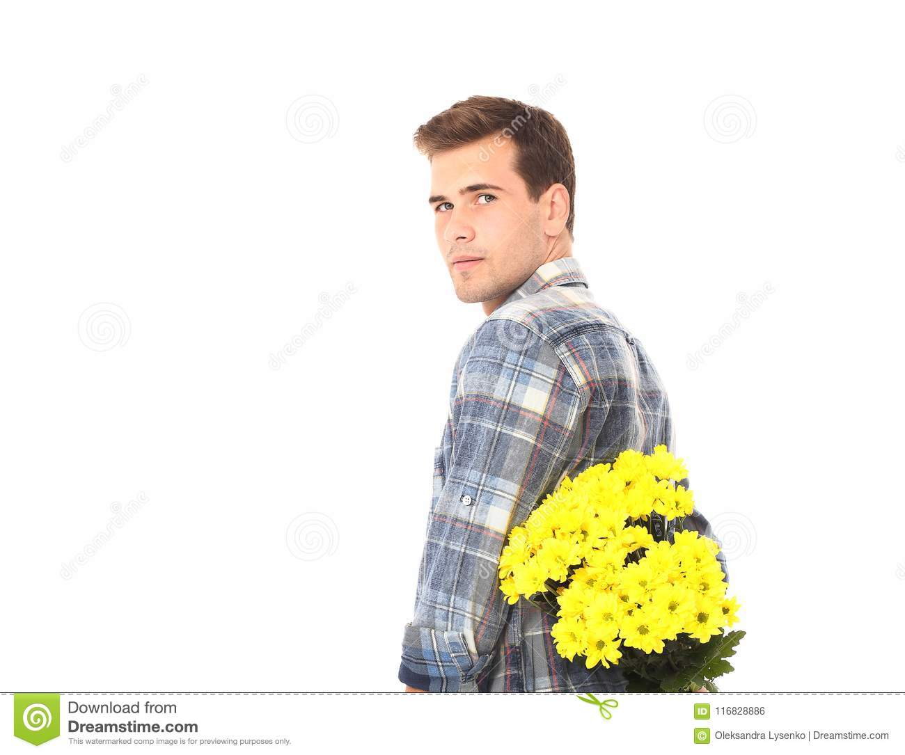 Romantic Young Man With Bouquet Of Yellow Flowers Isolated On White Valentine Mother Day Birthday