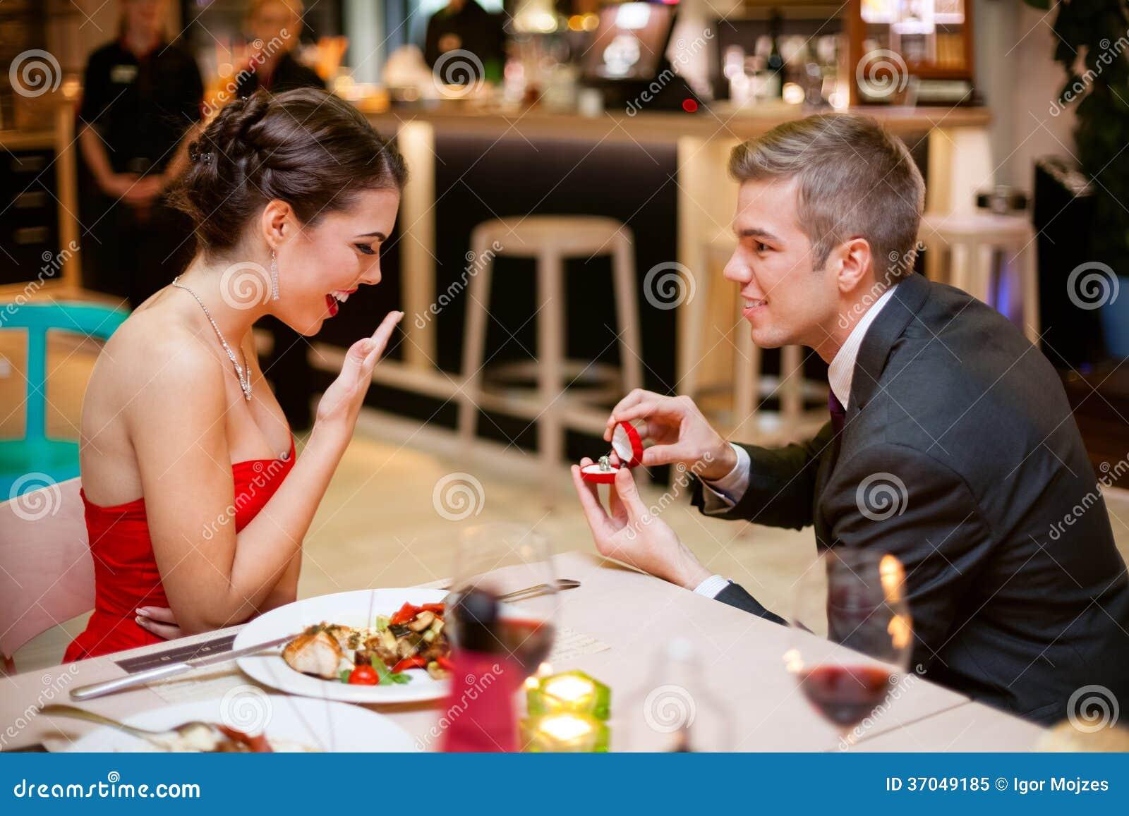 Romantically Proposing Stock Image. Image Of Celebration