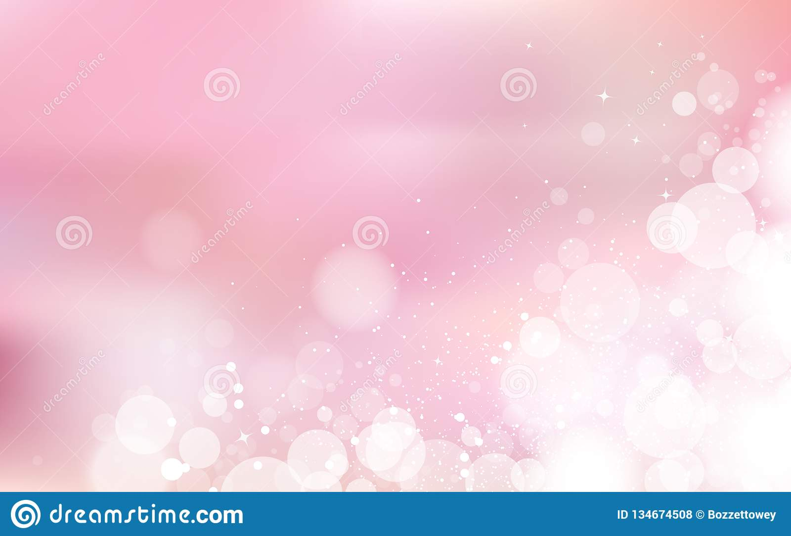 Romantici pastelli di Bokeh di rosa, festival della celebrazione con le stelle spargono il concetto brillante leggero, i coriando