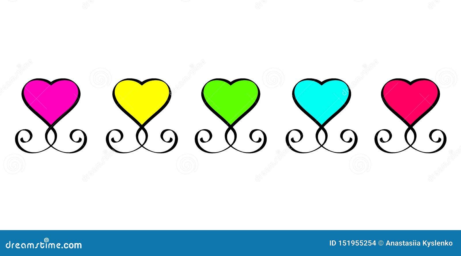 Romantiker för dag för valentin för beståndsdel för röda gröna blåa gula rosa för tecken för förälskelsehjärta för tappning calli