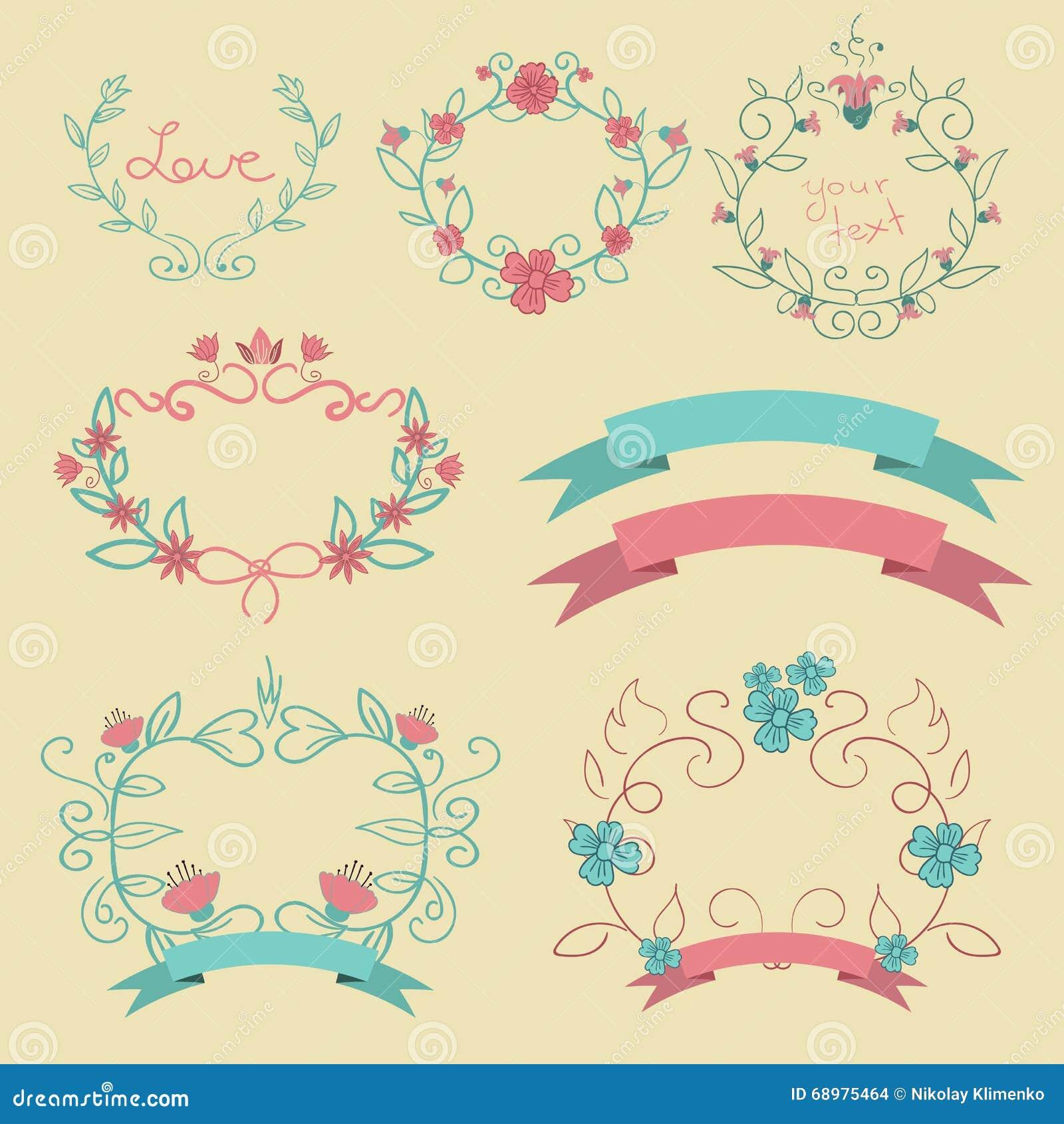 Romantikeruppsättningen med färg märker bandblommor eps 10