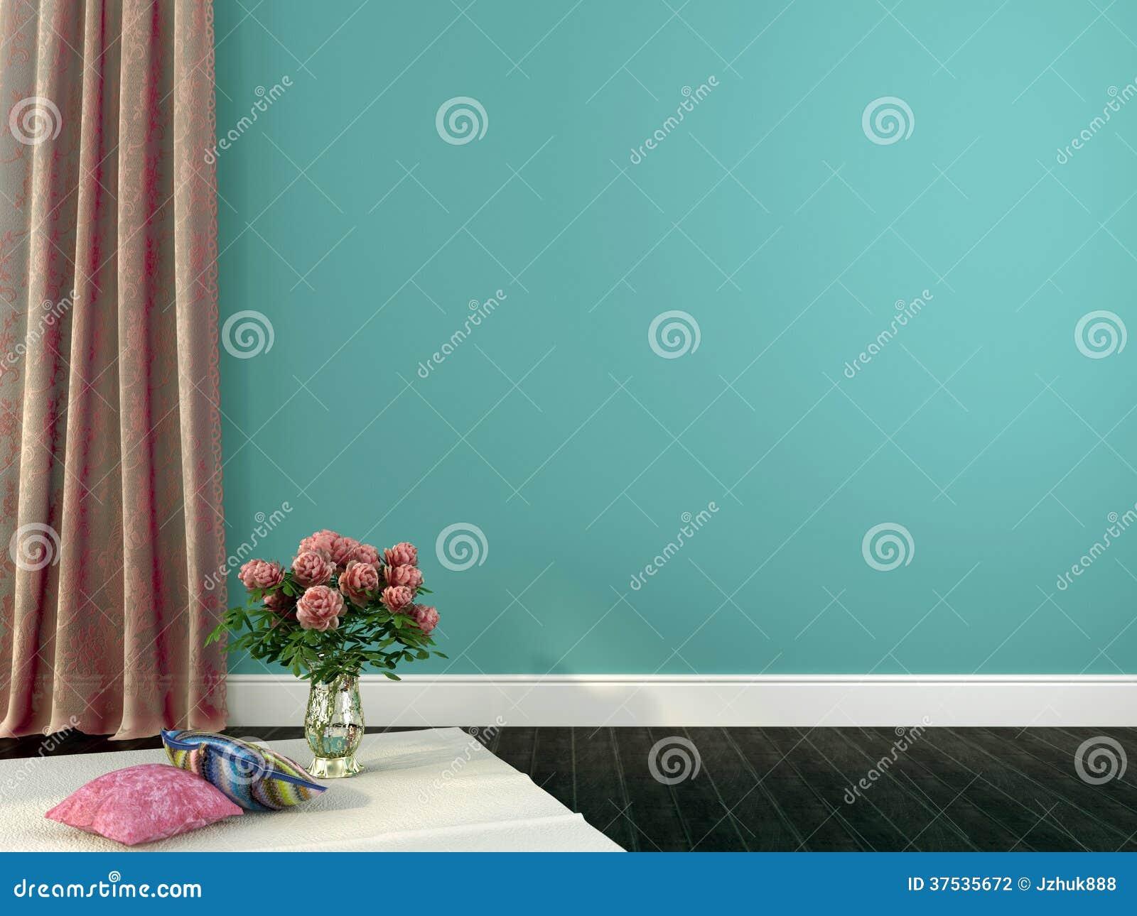 Romantisch Binnenland Met Roze Gordijnen En Decor Stock Illustratie ...
