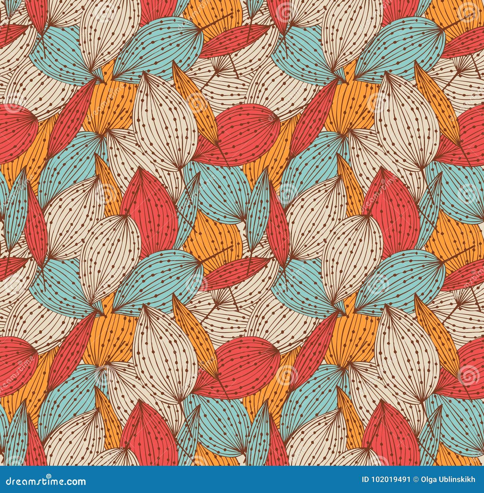 Romantisch de herfst bloemen naadloos patroon Mooie eindeloze lineaire achtergrond met bladeren Uitstekende bladerentextuur