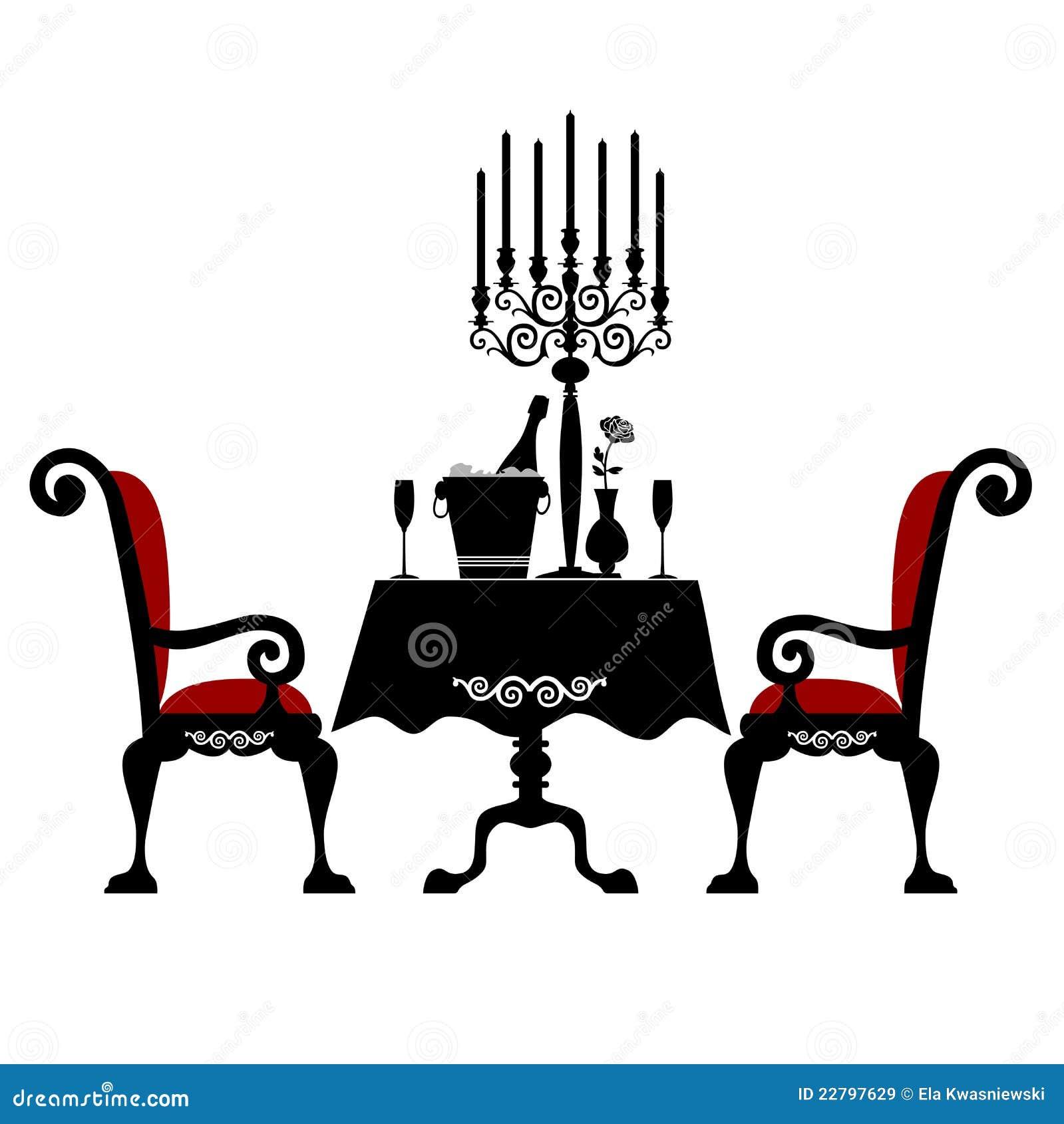 Romantisch diner voor twee vector illustratie afbeelding bestaande uit drank 22797629 - Ch amber voor twee ...