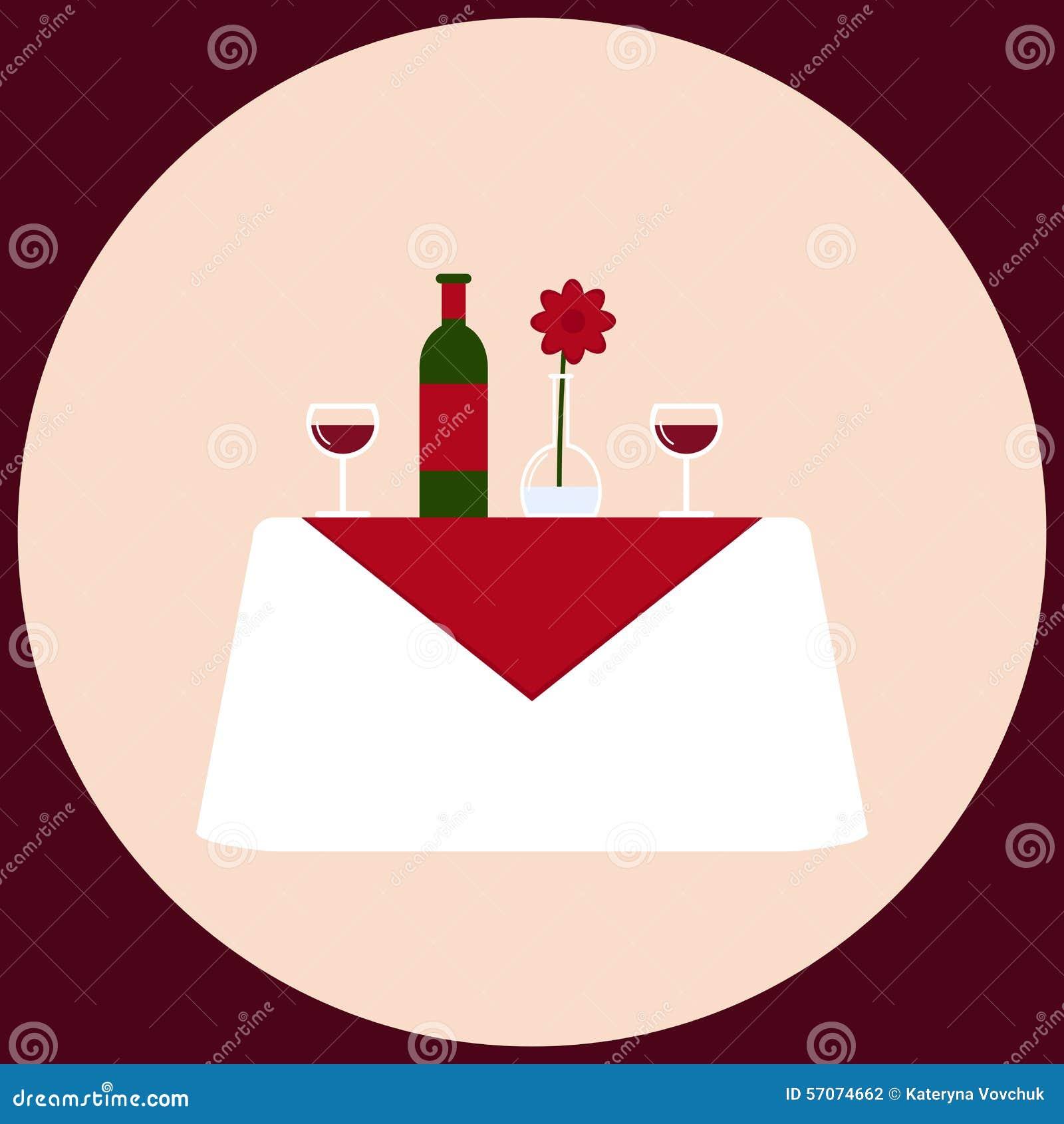 Romantisch diner voor witte lijst twee met wijn, stemware, vaas en bloem
