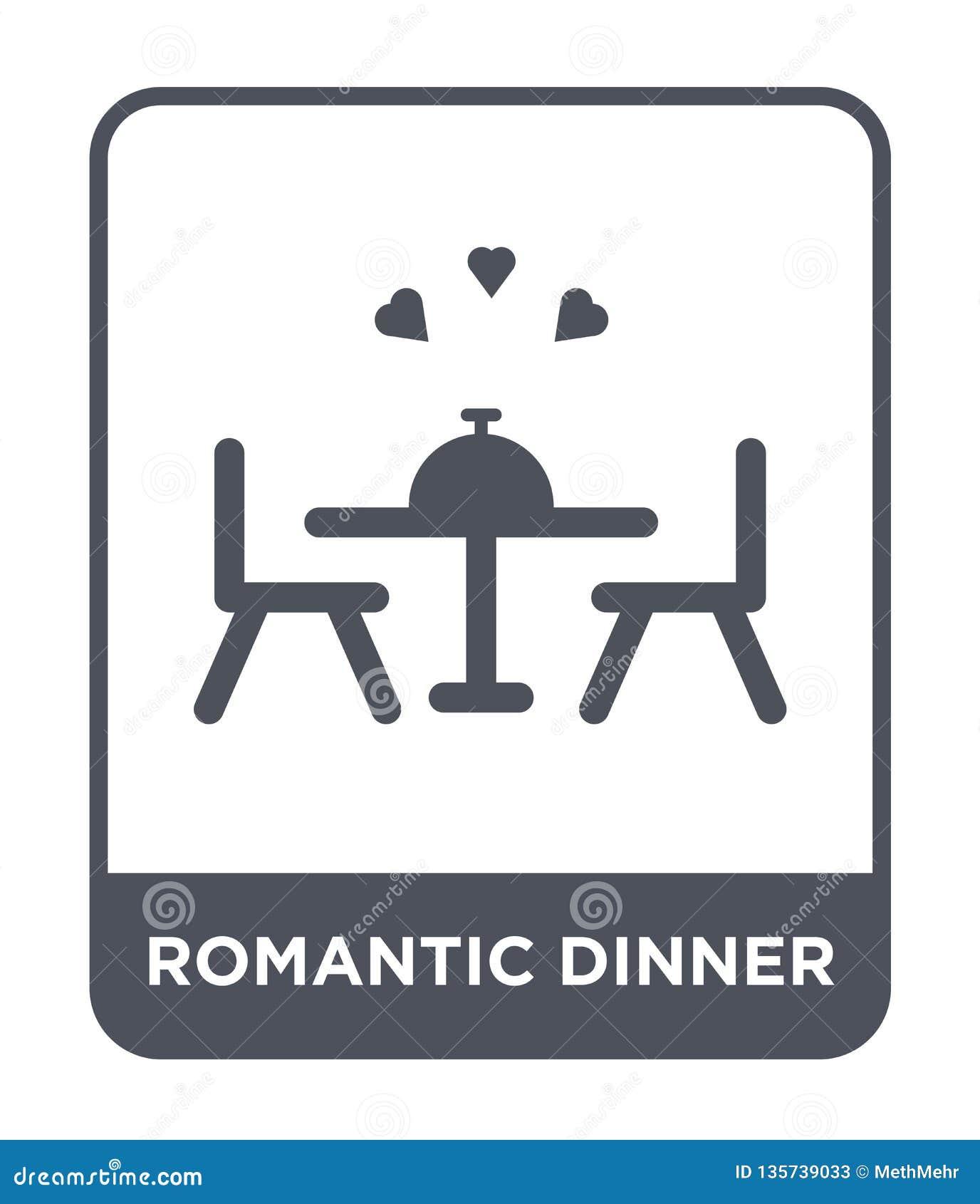 Romantisch dinerpictogram in in ontwerpstijl romantisch die dinerpictogram op witte achtergrond wordt geïsoleerd romantisch eenvo