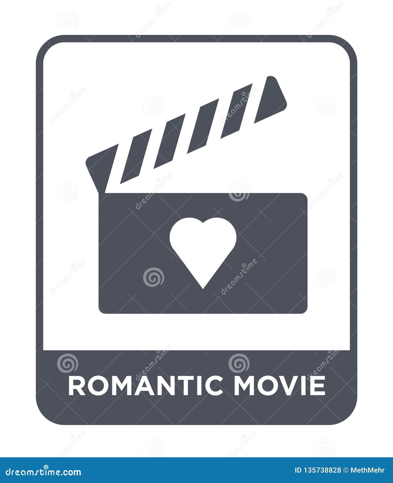 Romantisch filmpictogram in in ontwerpstijl romantisch die filmpictogram op witte achtergrond wordt geïsoleerd romantisch eenvoud