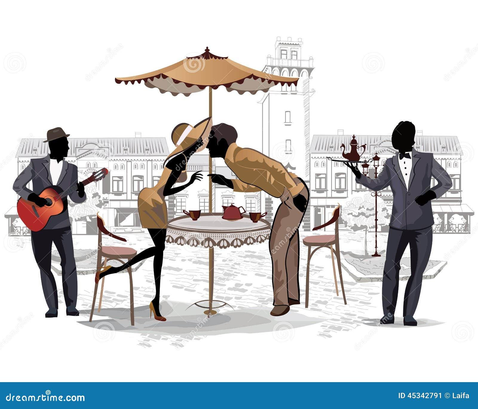 Romantisch paar in de straatkoffie en een musicus