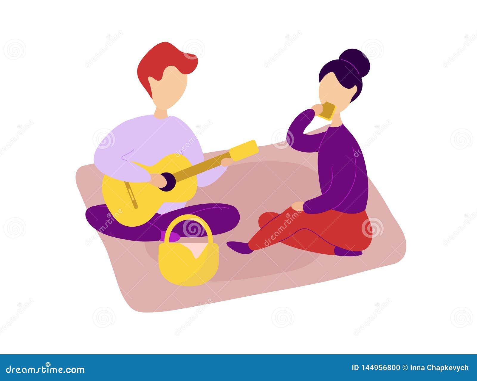 Romantisch paar in liefde die picknick hebben samen