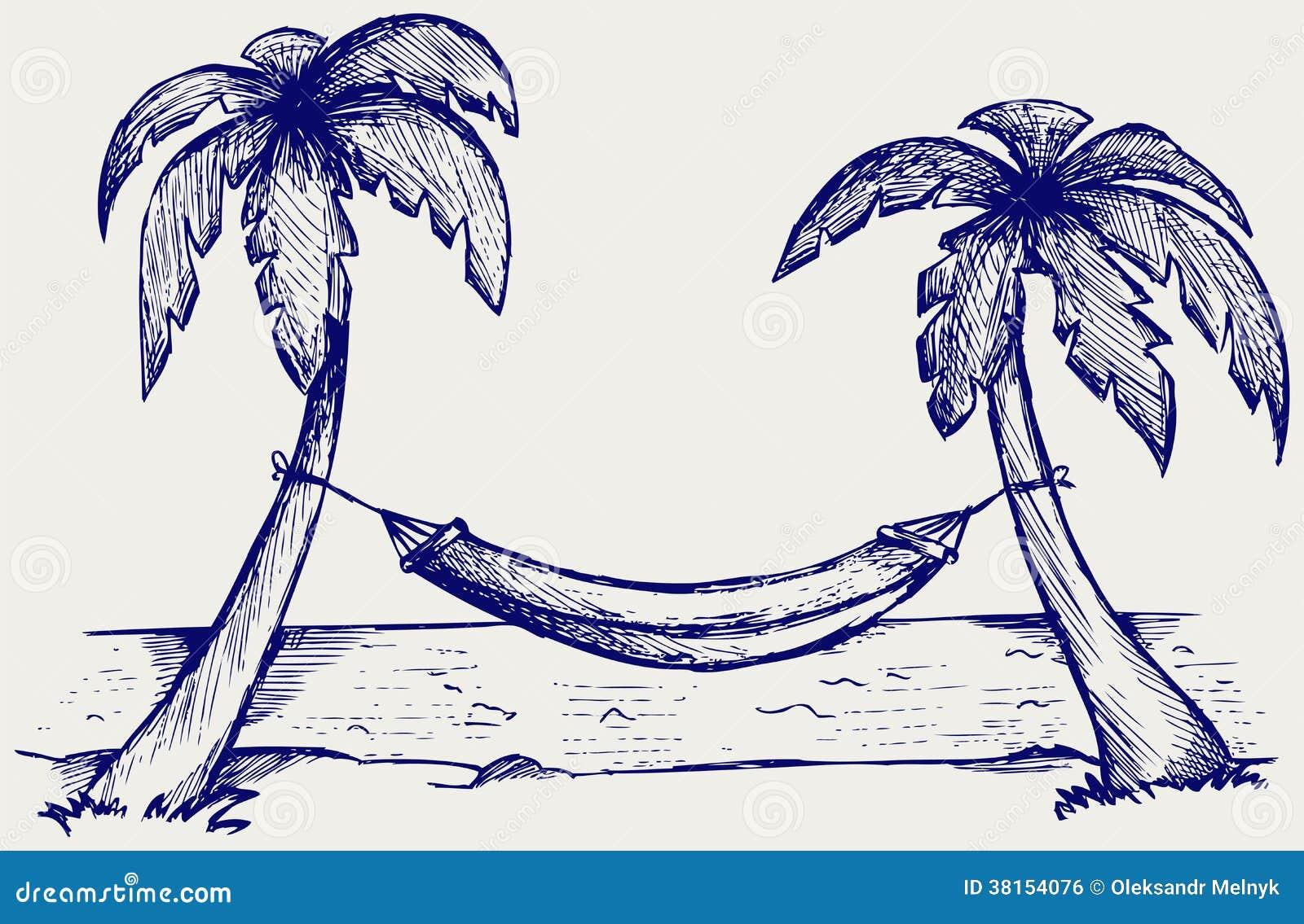 Romantische hangmat tussen palmen