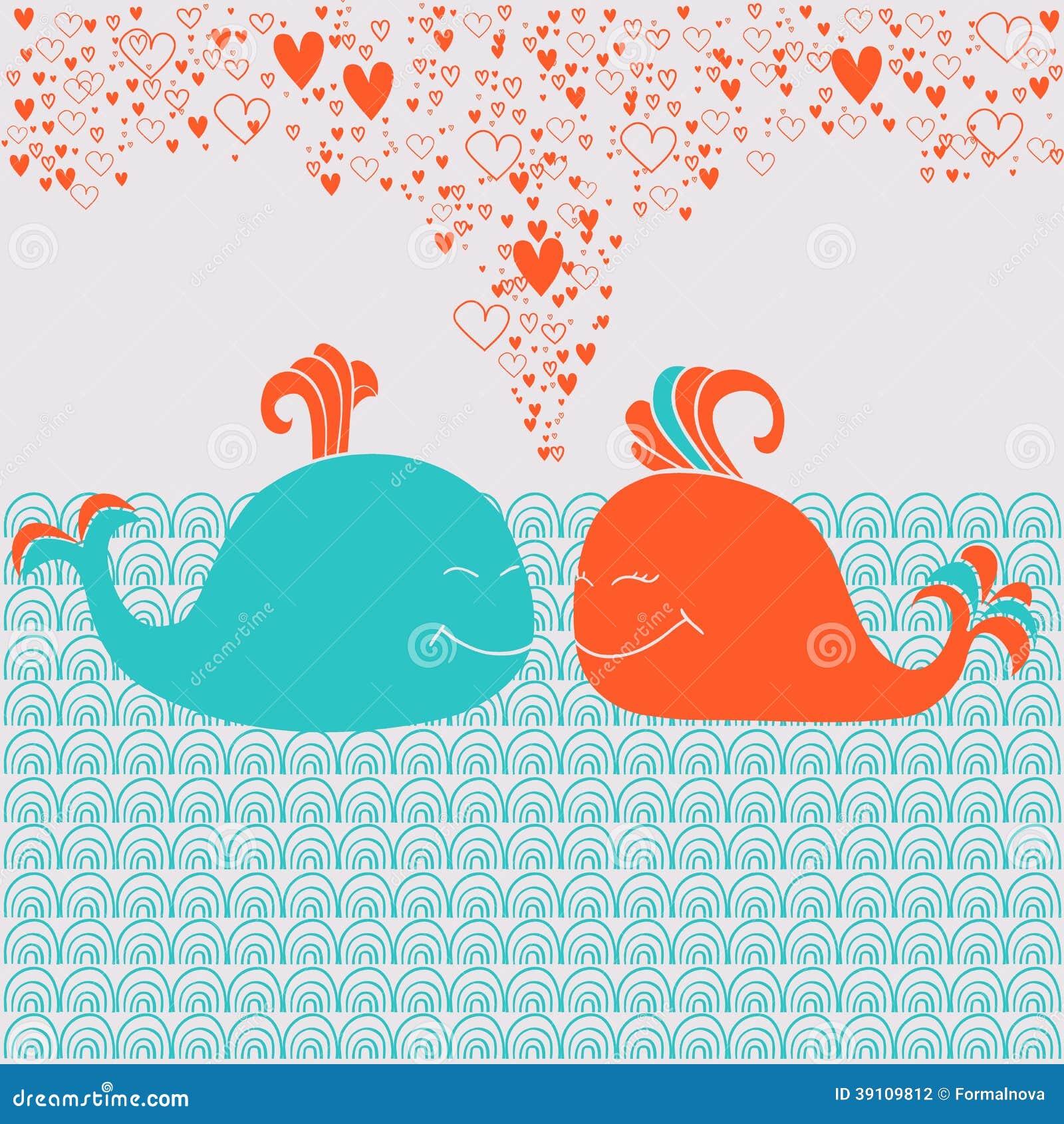 Romantische kaart met leuke walvissen, harten en golven
