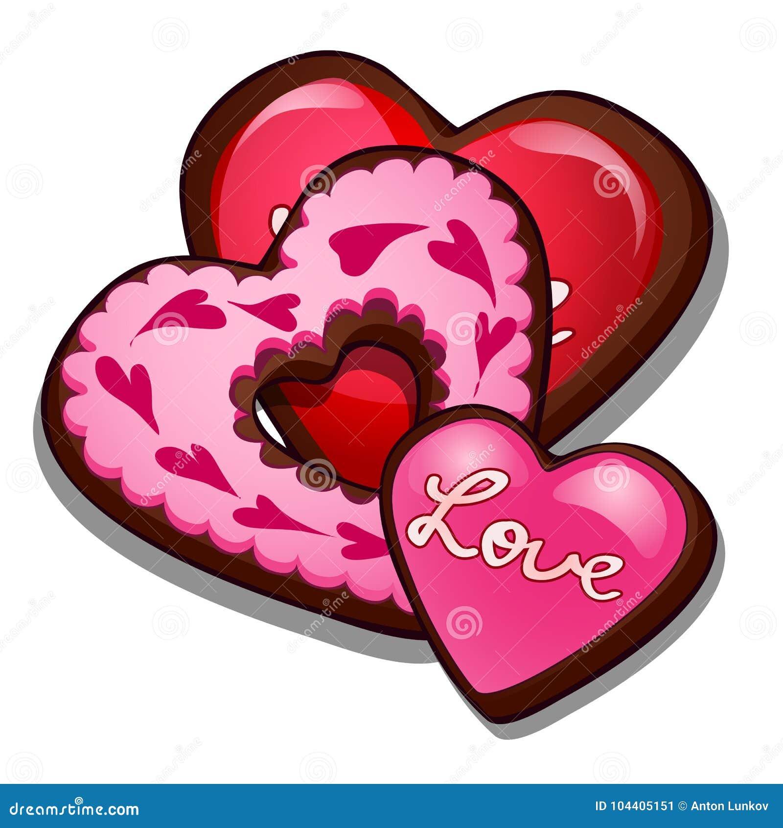 Romantische peperkoek in vorm van harten Culinaire verrukkingen voor Valentijnskaartendag, Romaans symbool Geïsoleerde vector