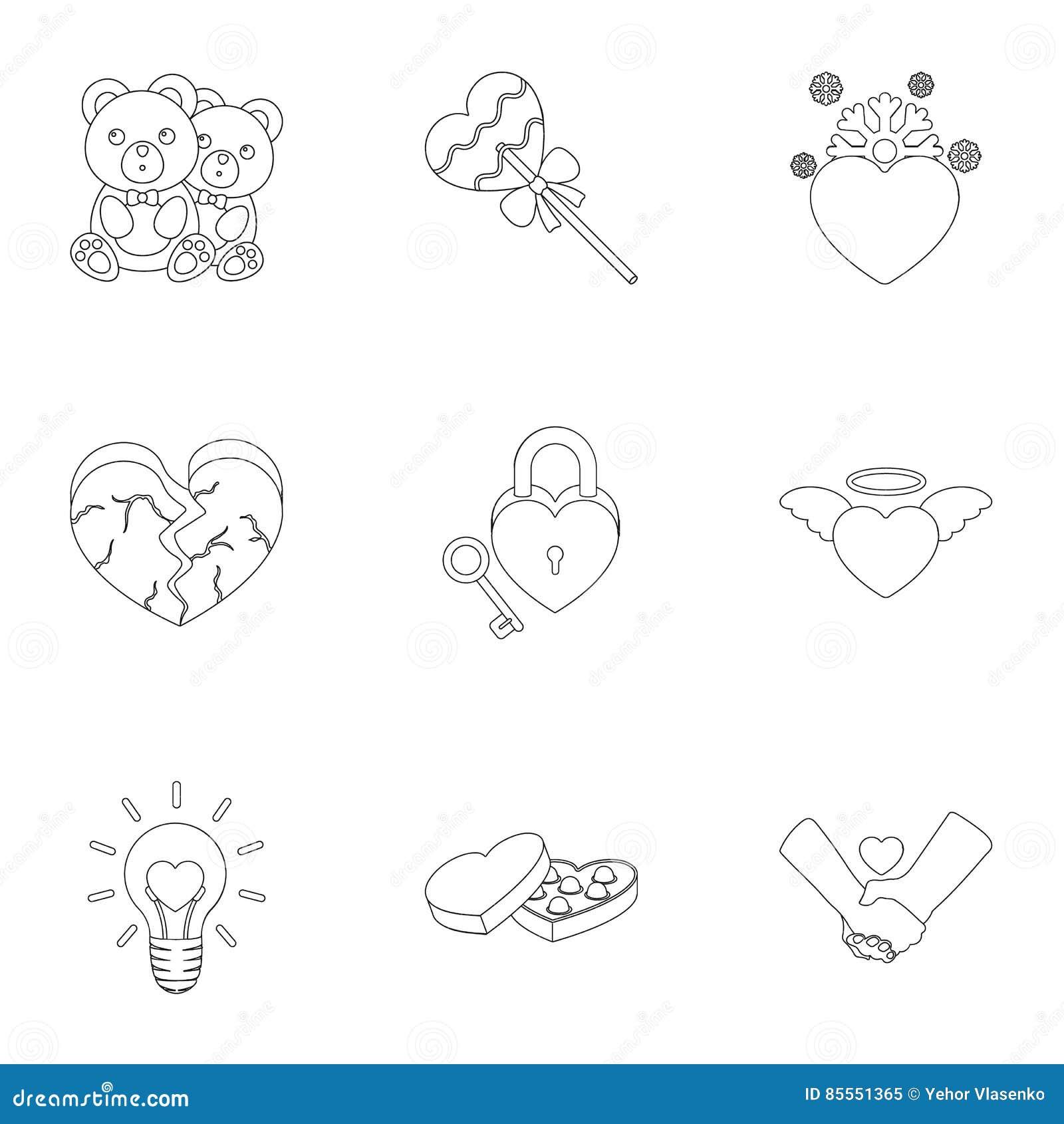Romantische Satzikonen in der Entwurfsart Große Sammlung der romantischen Illustration