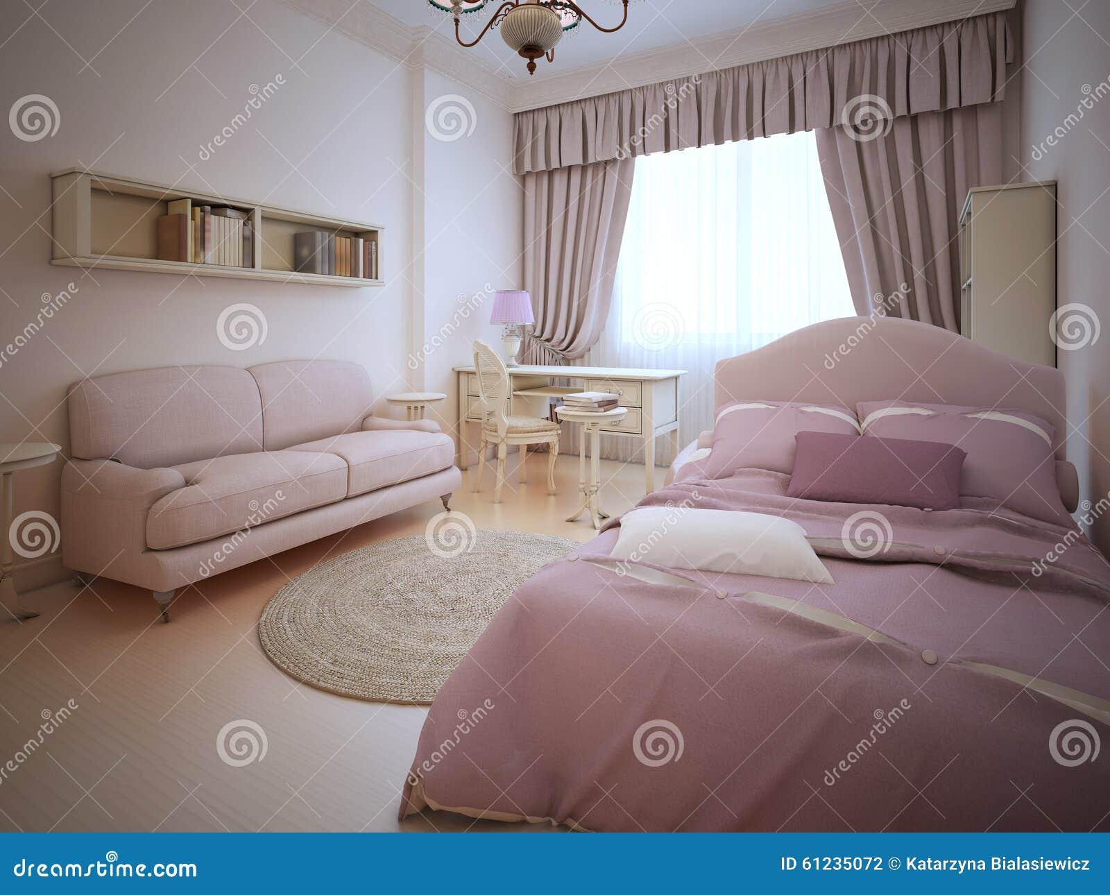 De klassieke slaapkamer van het tienermeisje stock illustratie ...