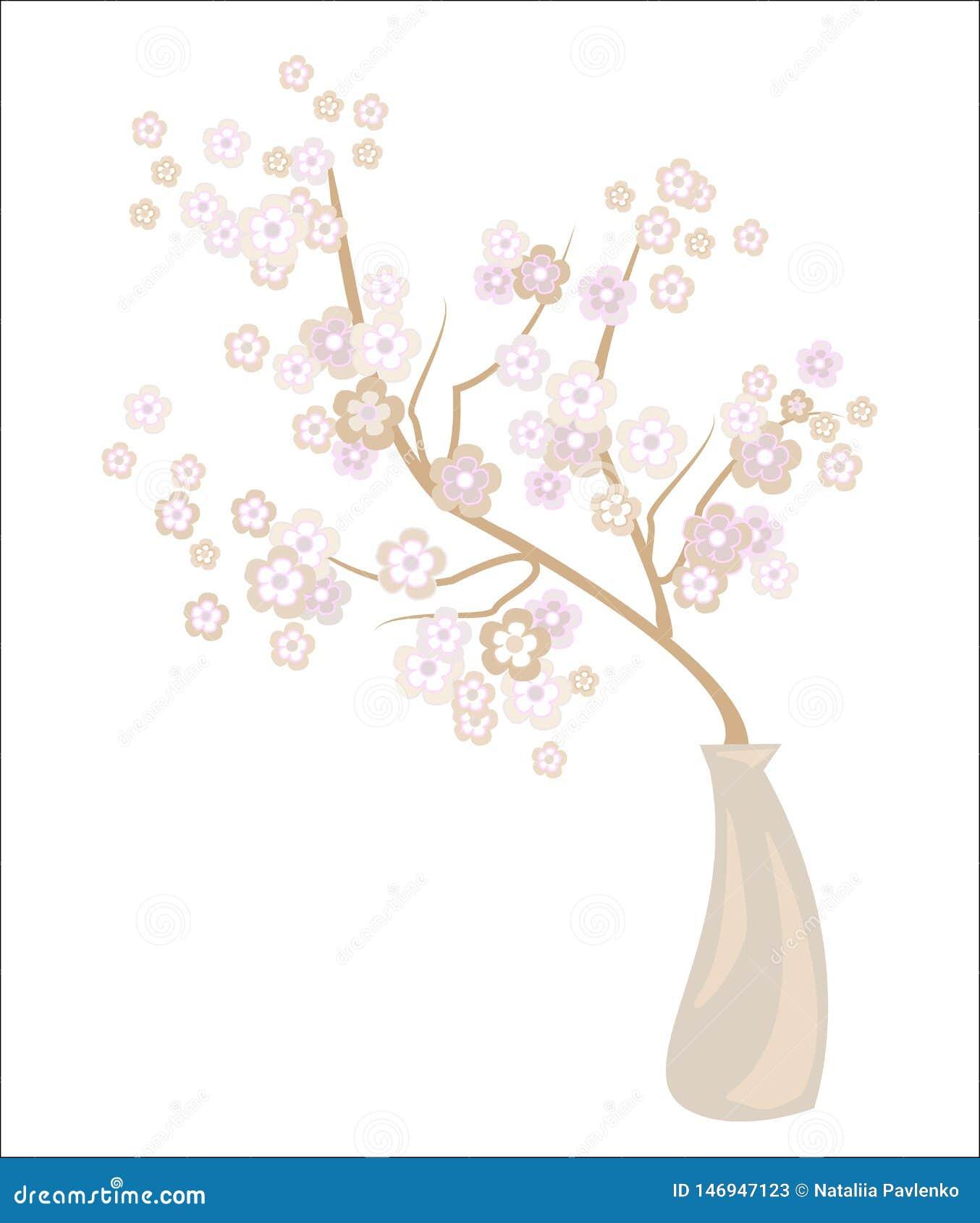 Romantische vaas met een gevoelige kersenbloesem Uitstekende bloemblaadjes en gevoelige bloemengeur Decoratie van een feestelijke