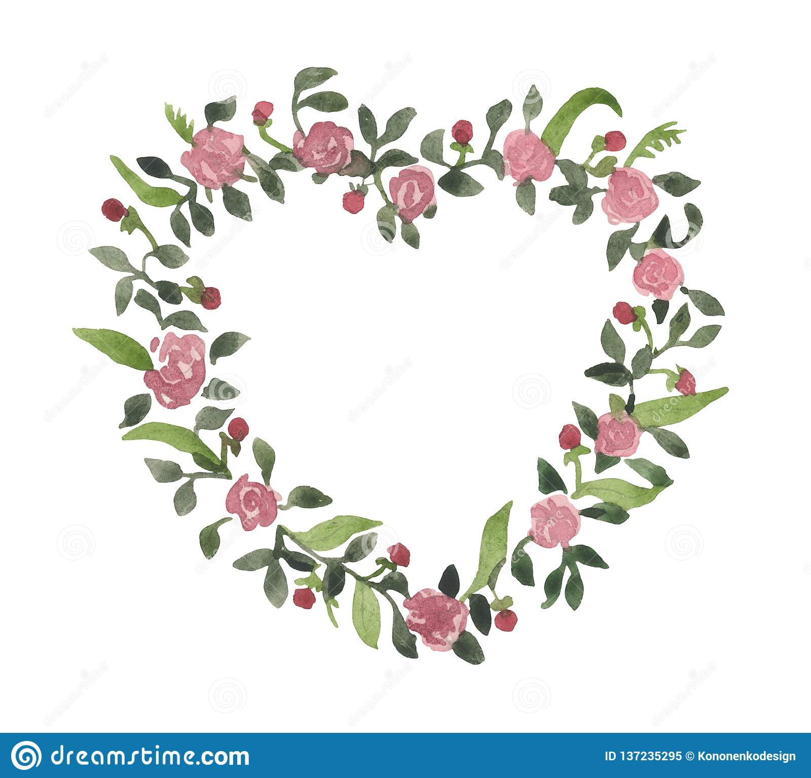 Romantischer Aquarellkranz, Blumen von Rosen