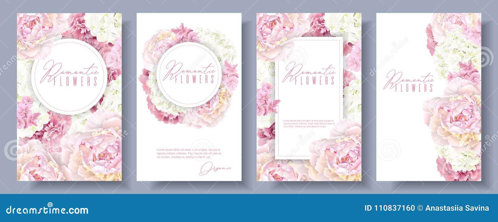 Romantischer Blumenfahnensatz