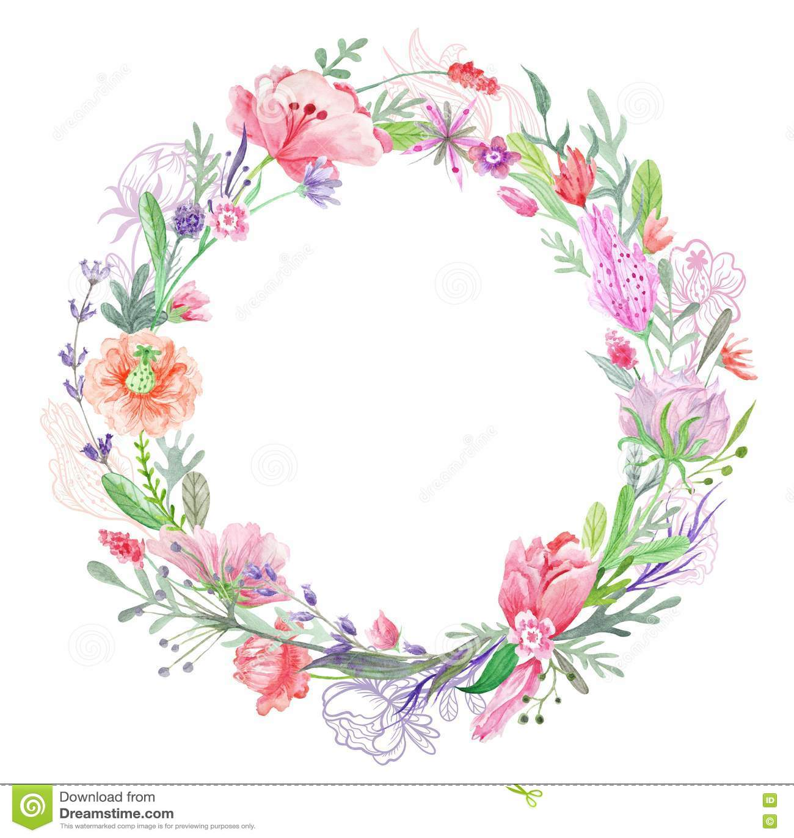 Romantischer Blumenkranz Rahmen Stock Abbildung