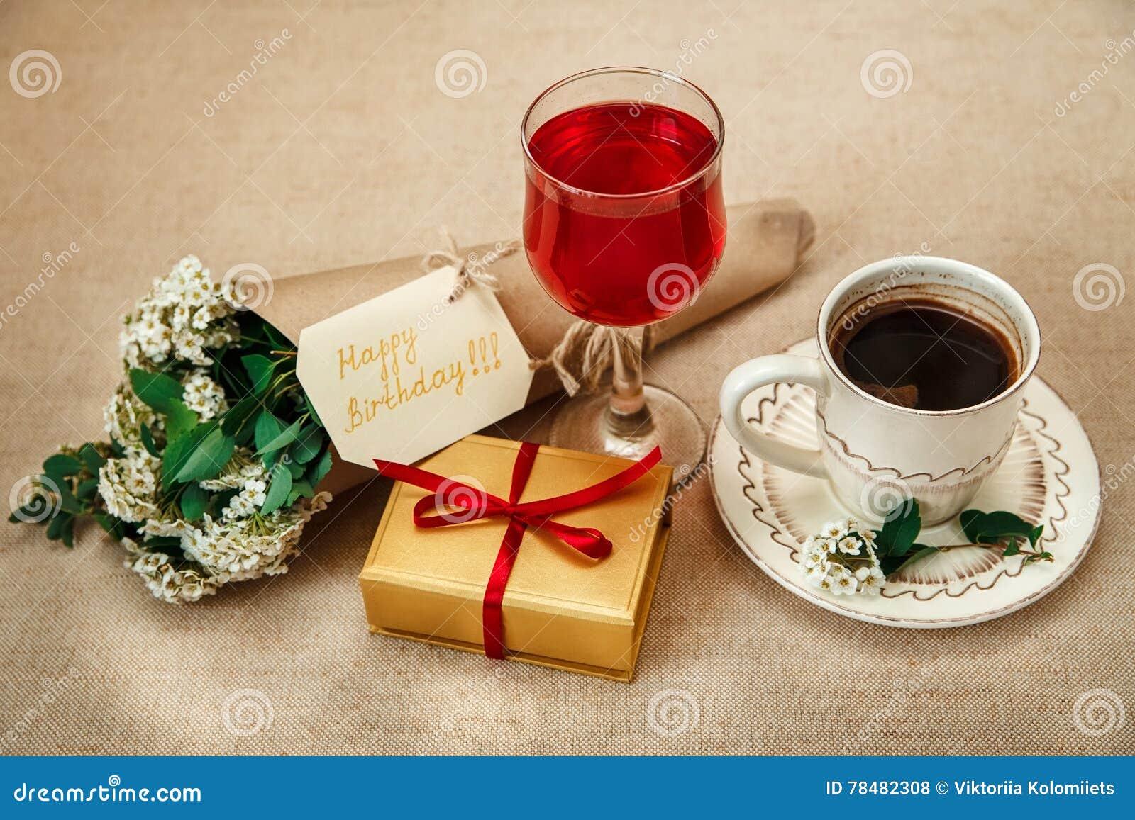 Romantischer Geburtstag Breakfastcup Des Kaffees Glas Des Roten