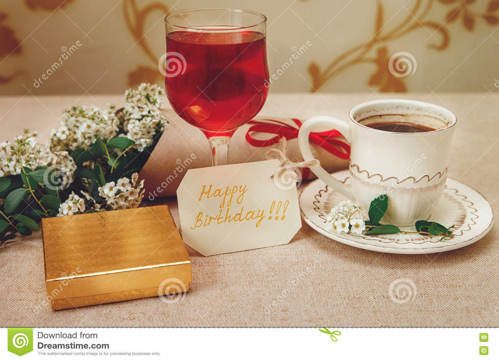 Romantischer Geburtstag Gesundes Breakfastcup Vom Kaffee Und Vom