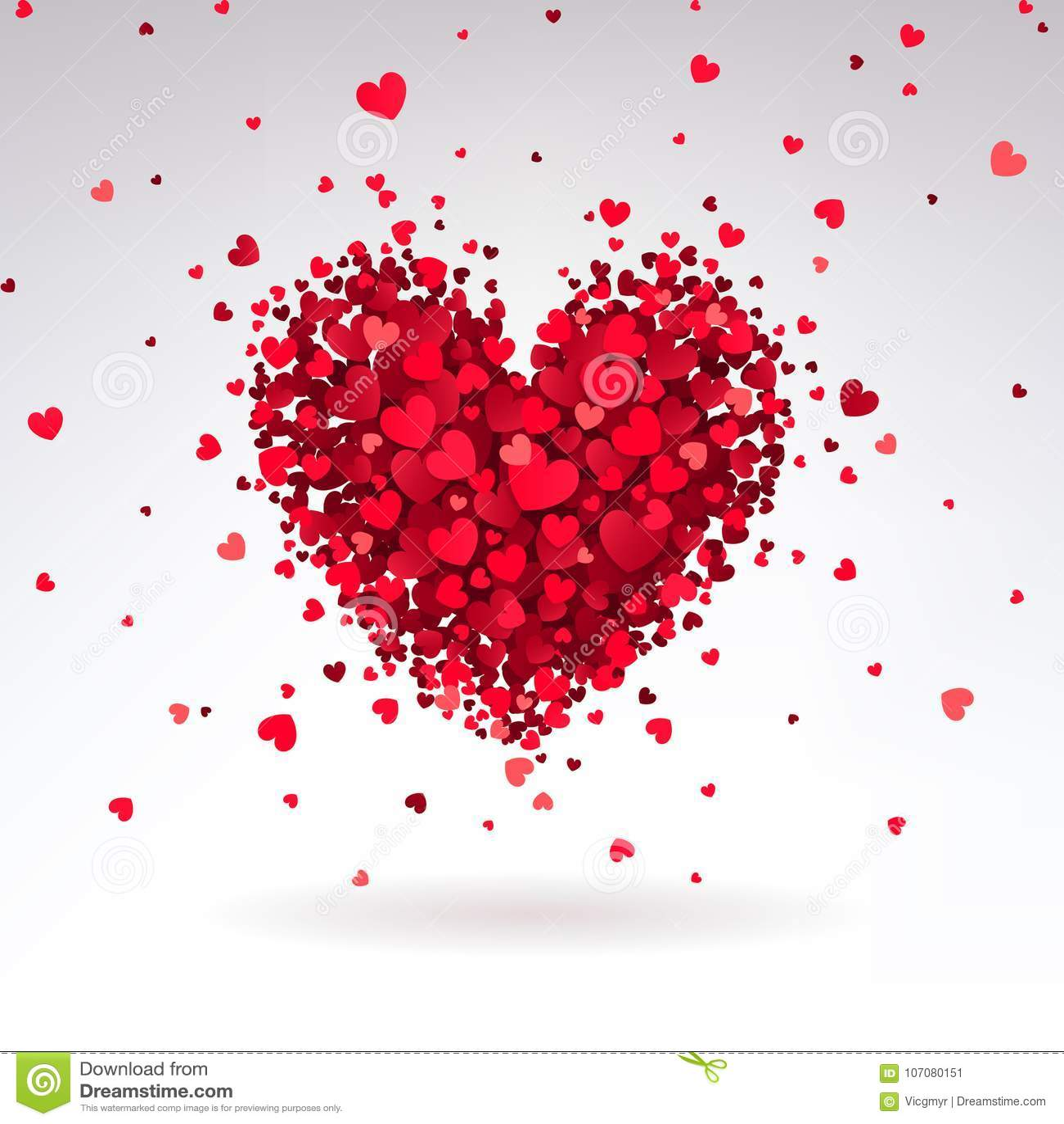 Romantisches Herz Von Roten Herzen Vektor Abbildung - Illustration ...