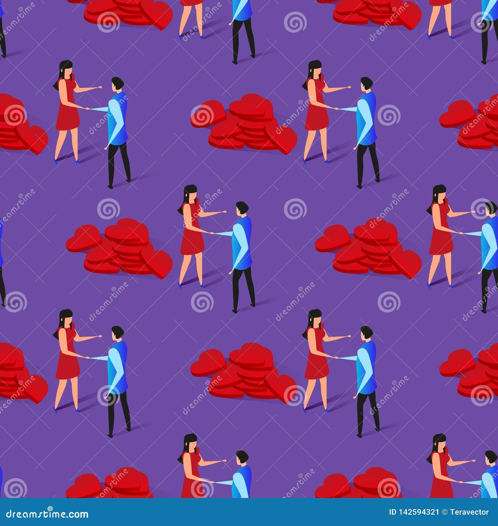 Romantisches Verhältnis nahtloses Pttern des glücklichen Paars
