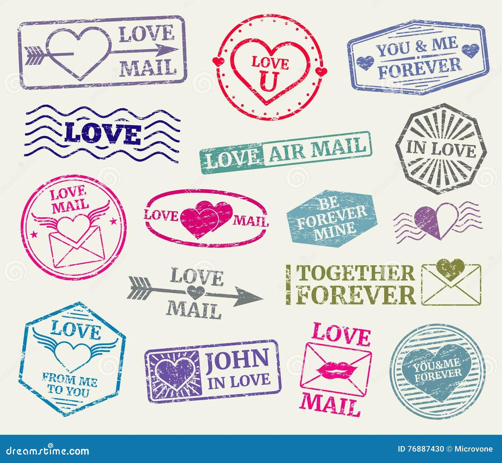 Romantisk uppsättning för vektor för portostämpel för valentindagkortet, förälskelsebokstäver