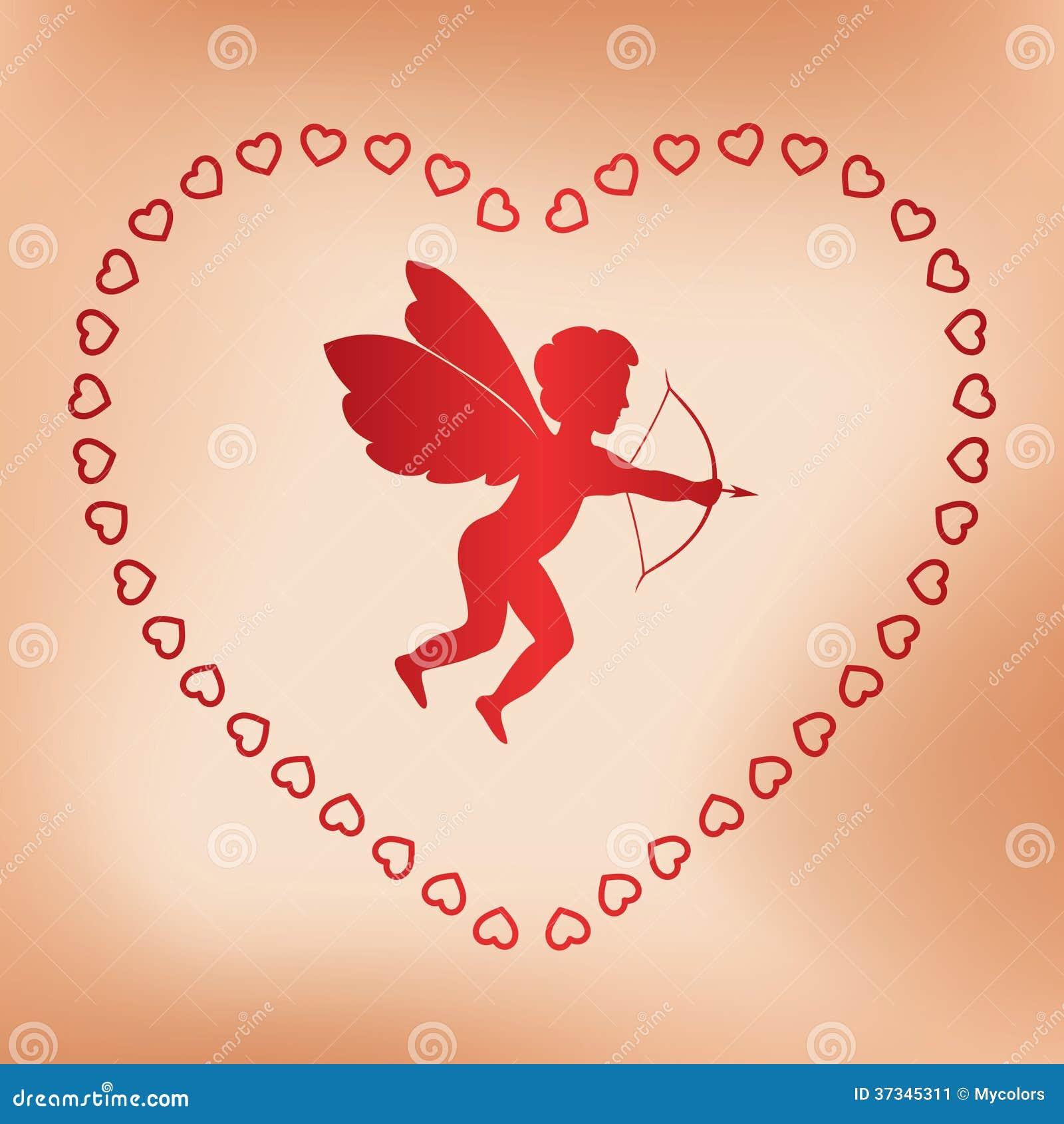 Romantiskt kort med ängeln för valentindag