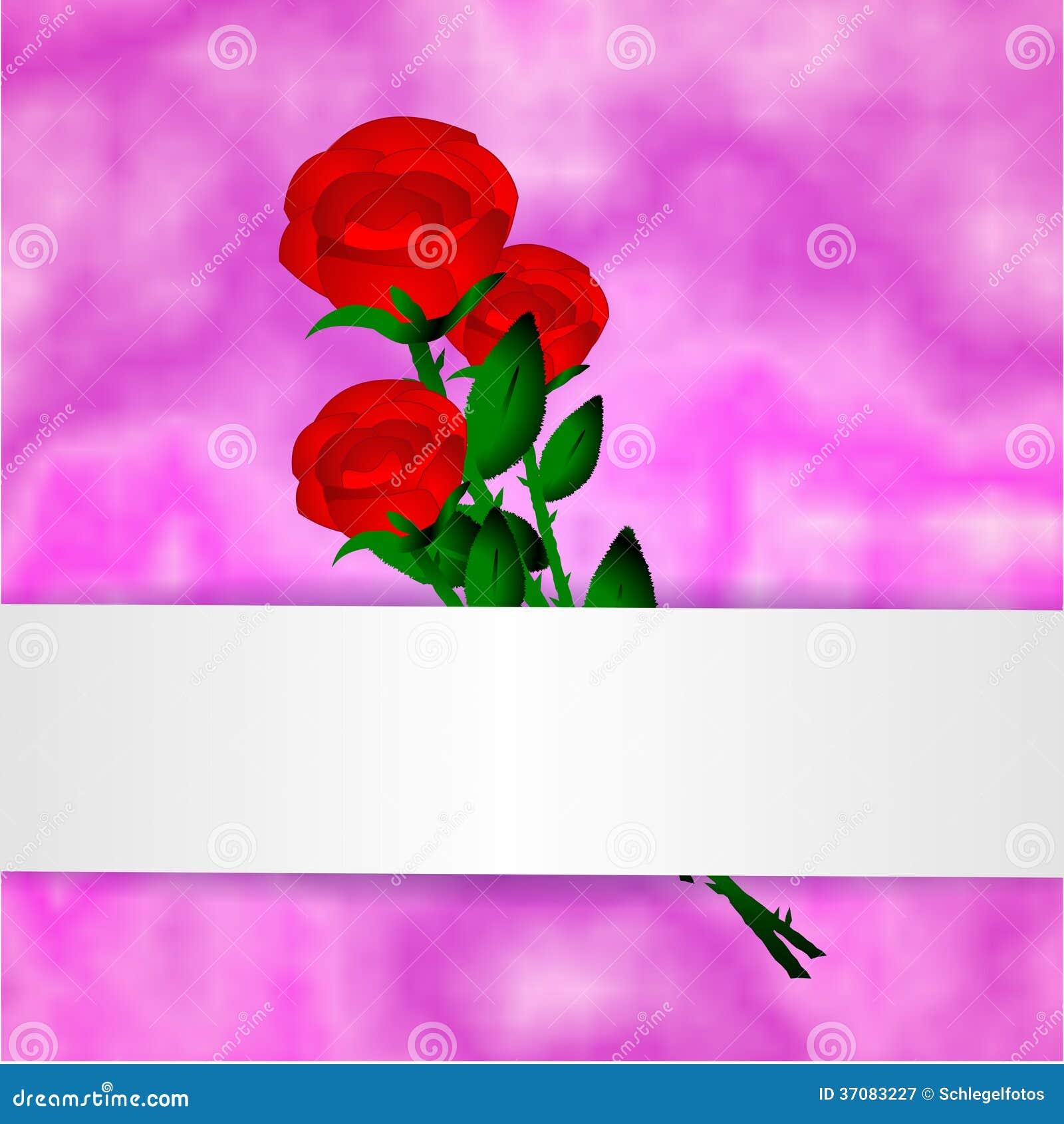 Download Romantyczna Menchii Róży Karta Ilustracji - Ilustracja złożonej z tło, zaproszenie: 37083227