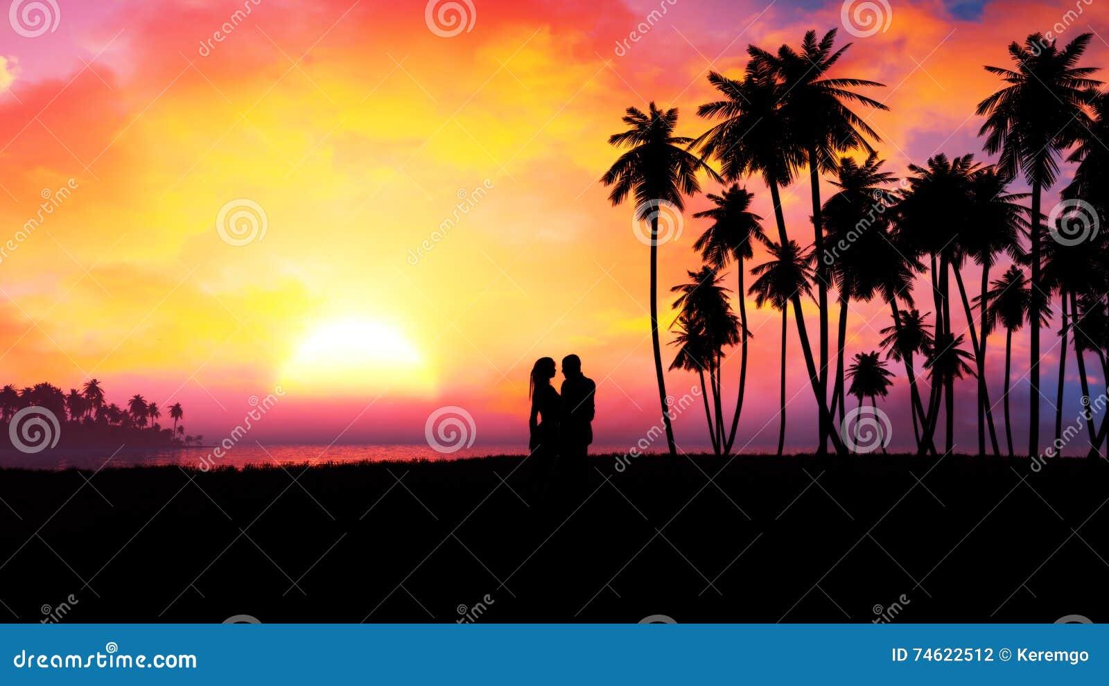Romantyczna pary sylwetka W Epickim zmierzchu