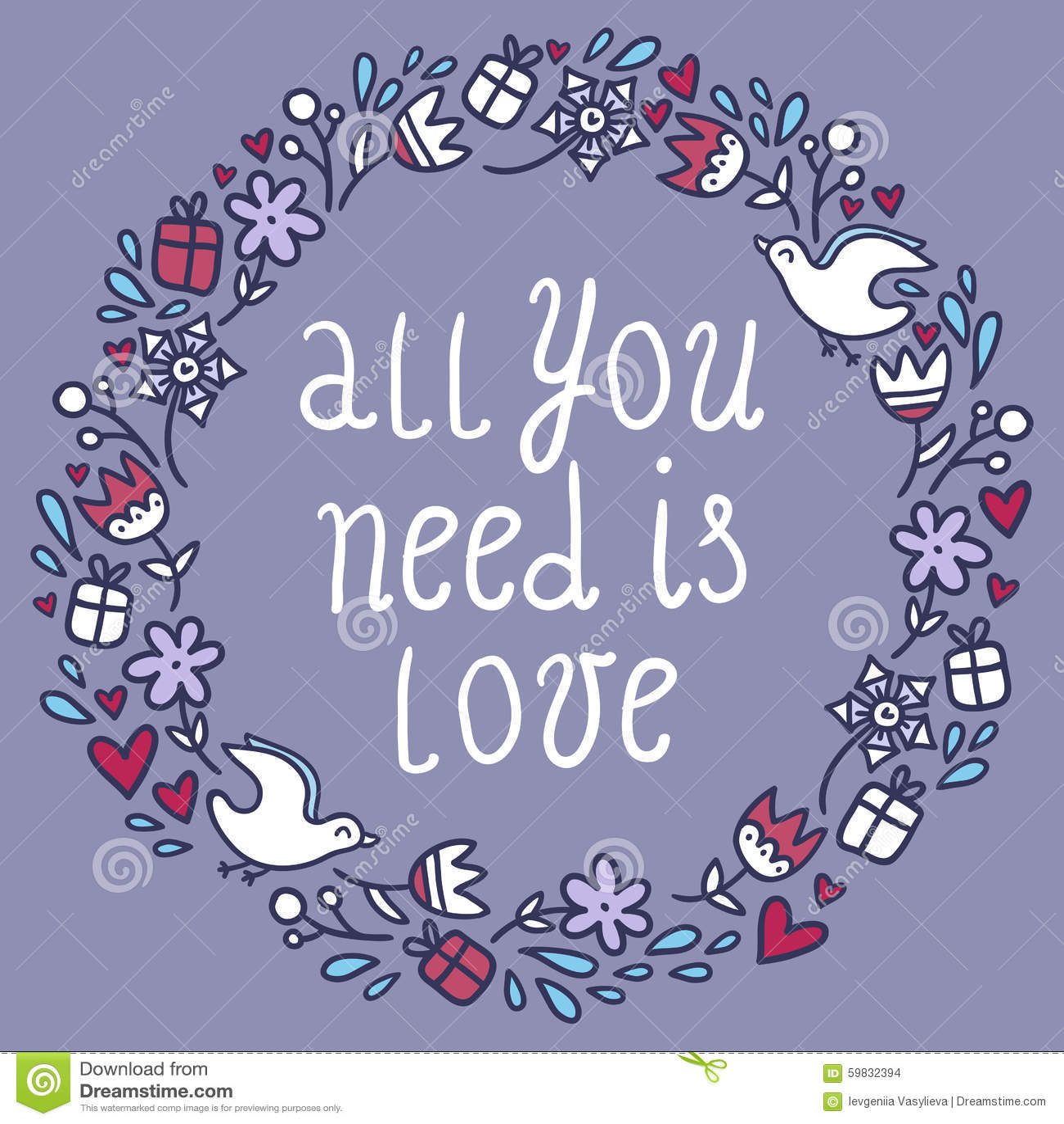Romantyczna round rama z kwiatami, sercami, prezentami i ptakami,