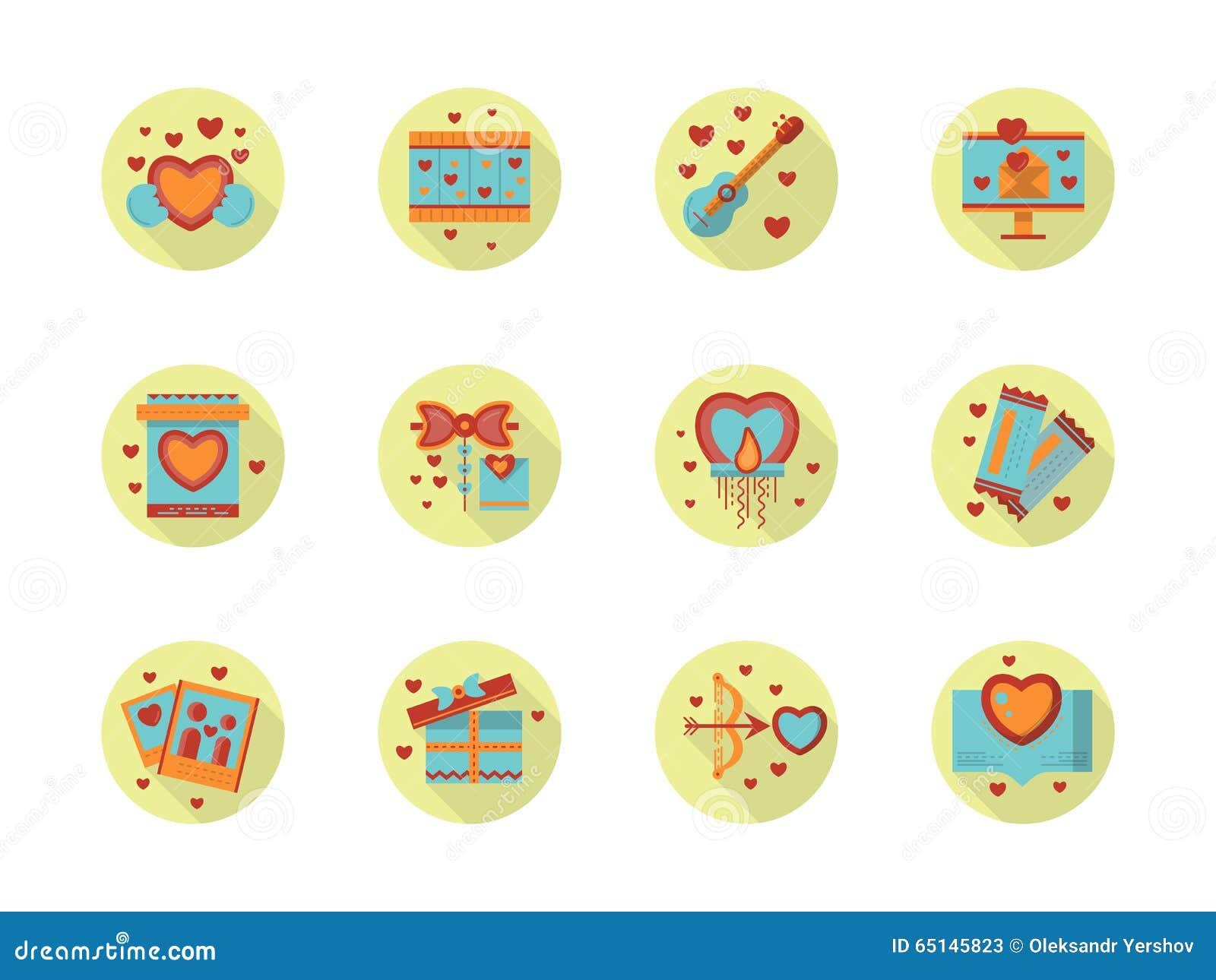 Romantycznego wydarzenie płaskiego koloru round ikony
