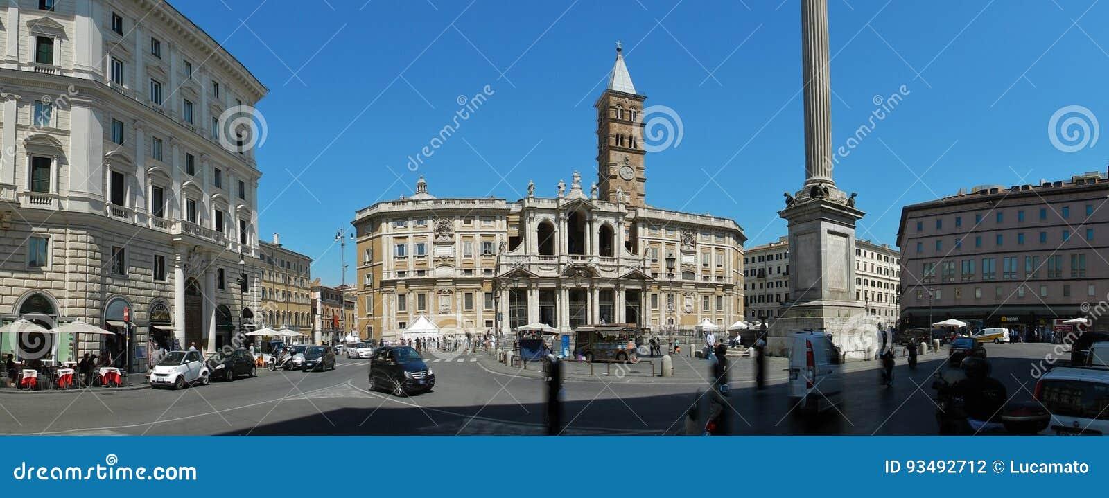 Rome - överblick av den påvliga basilikan av Santa Maria Maggiore