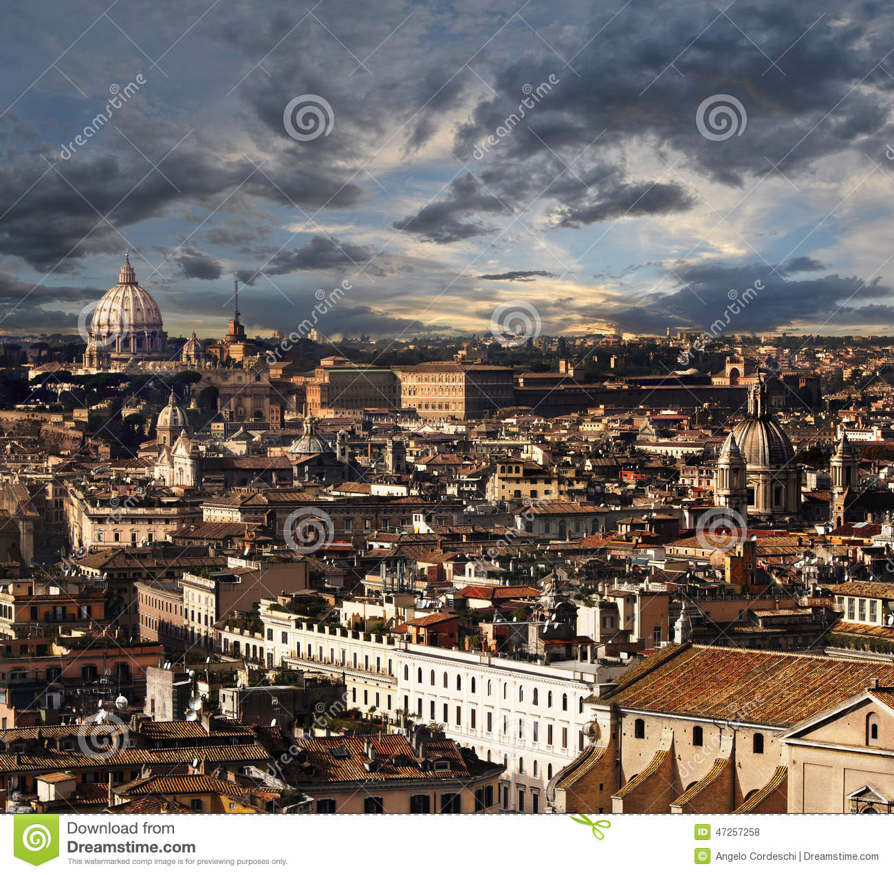 Rome Aerial View Panorama Landscape Stock Photo Image
