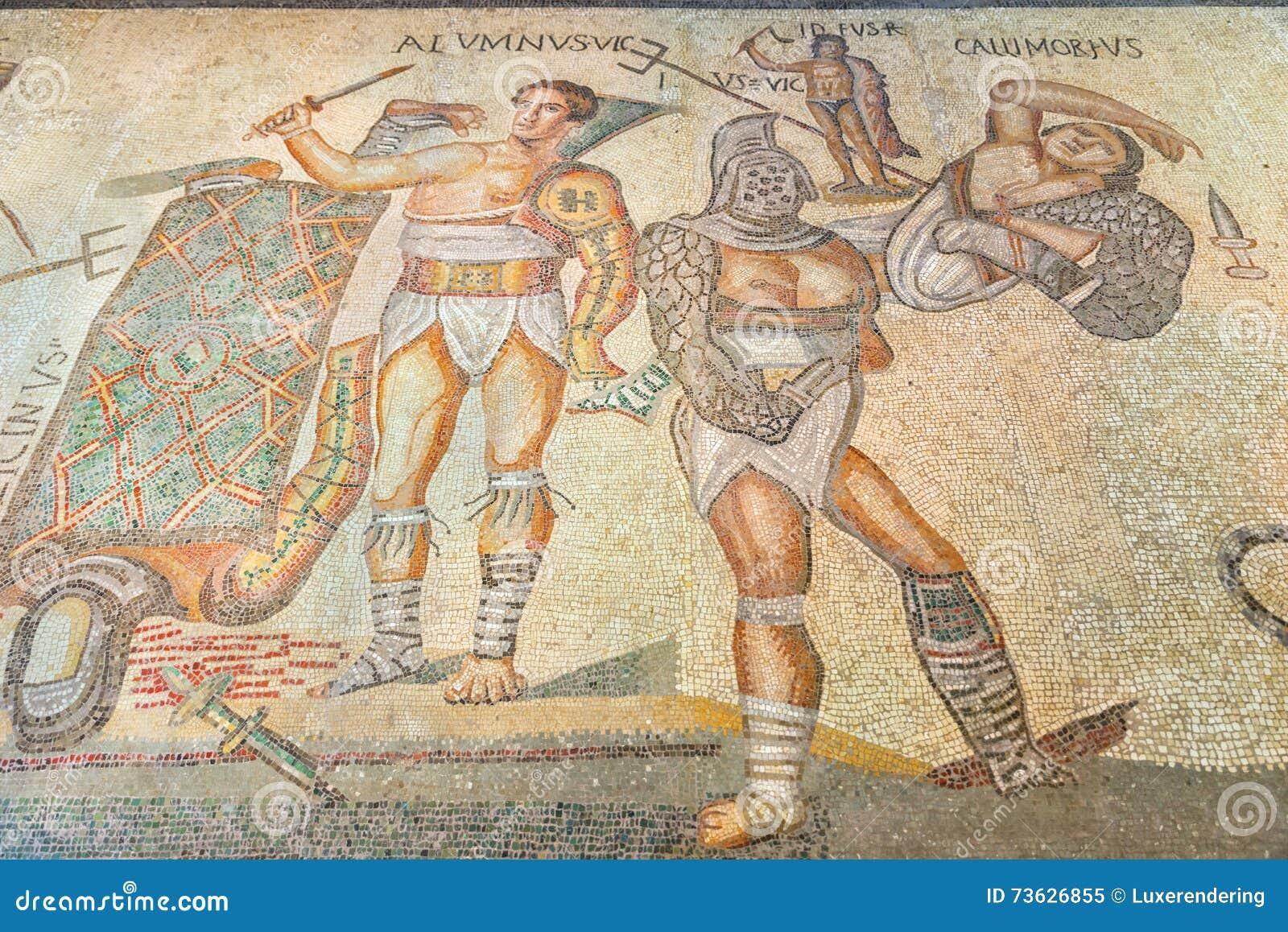 Rome Antyczna Romańska podłogowa mozaika przedstawia gladiatorów w Galleria Borghese