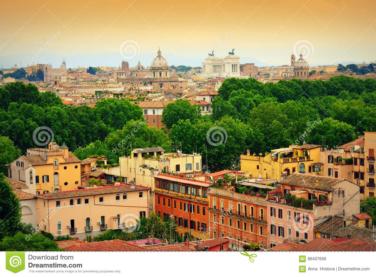 Rome city panorama Italy stock photo. Image of attraction - 86407656