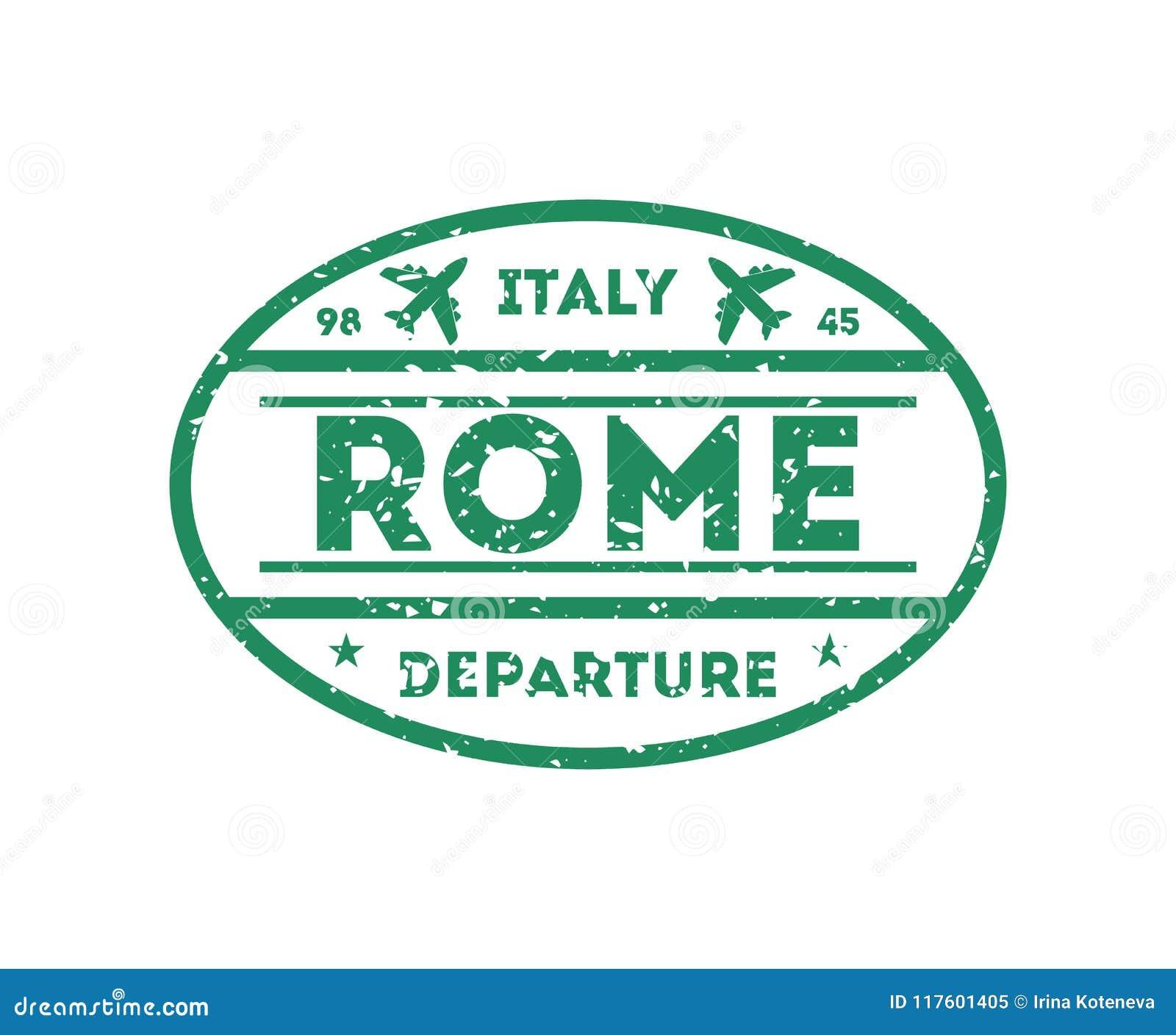 Rome City Visa Stamp On Passport Stock Vector Illustration Of