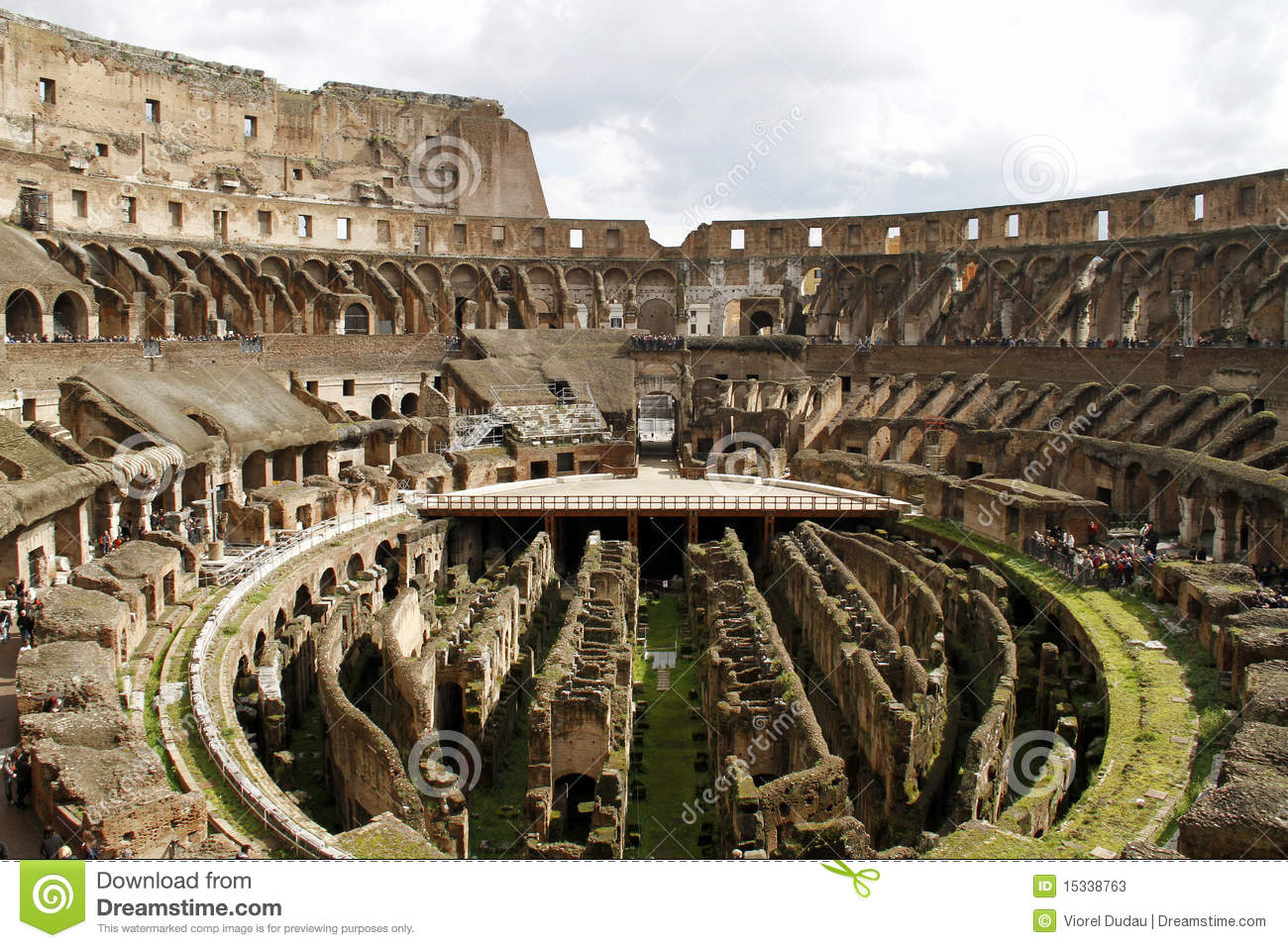 Wide interior of the big ancient Colloseum in Rome, Italy.