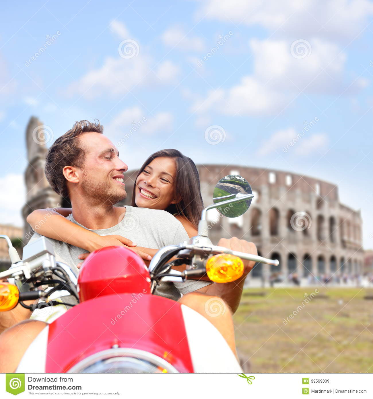 Rome Couple On Scooter By Colosseum, Italy Stock Image