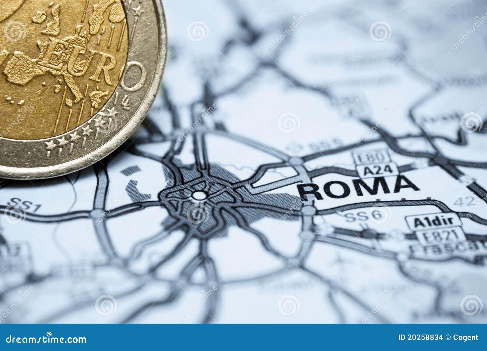Rome et euro pièce de monnaie