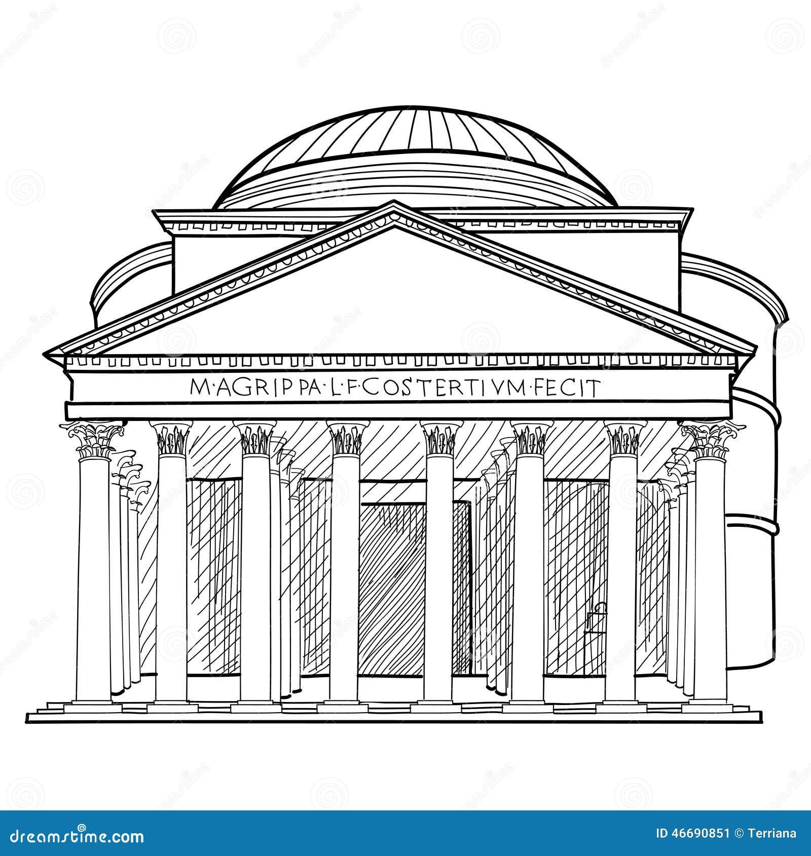 rome famous building italian landmark panteon isolated