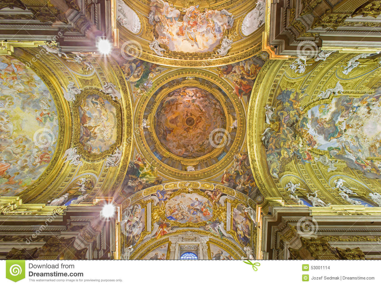 Rome The Fresco On Ceiling And Cupola Of Church Chiesa