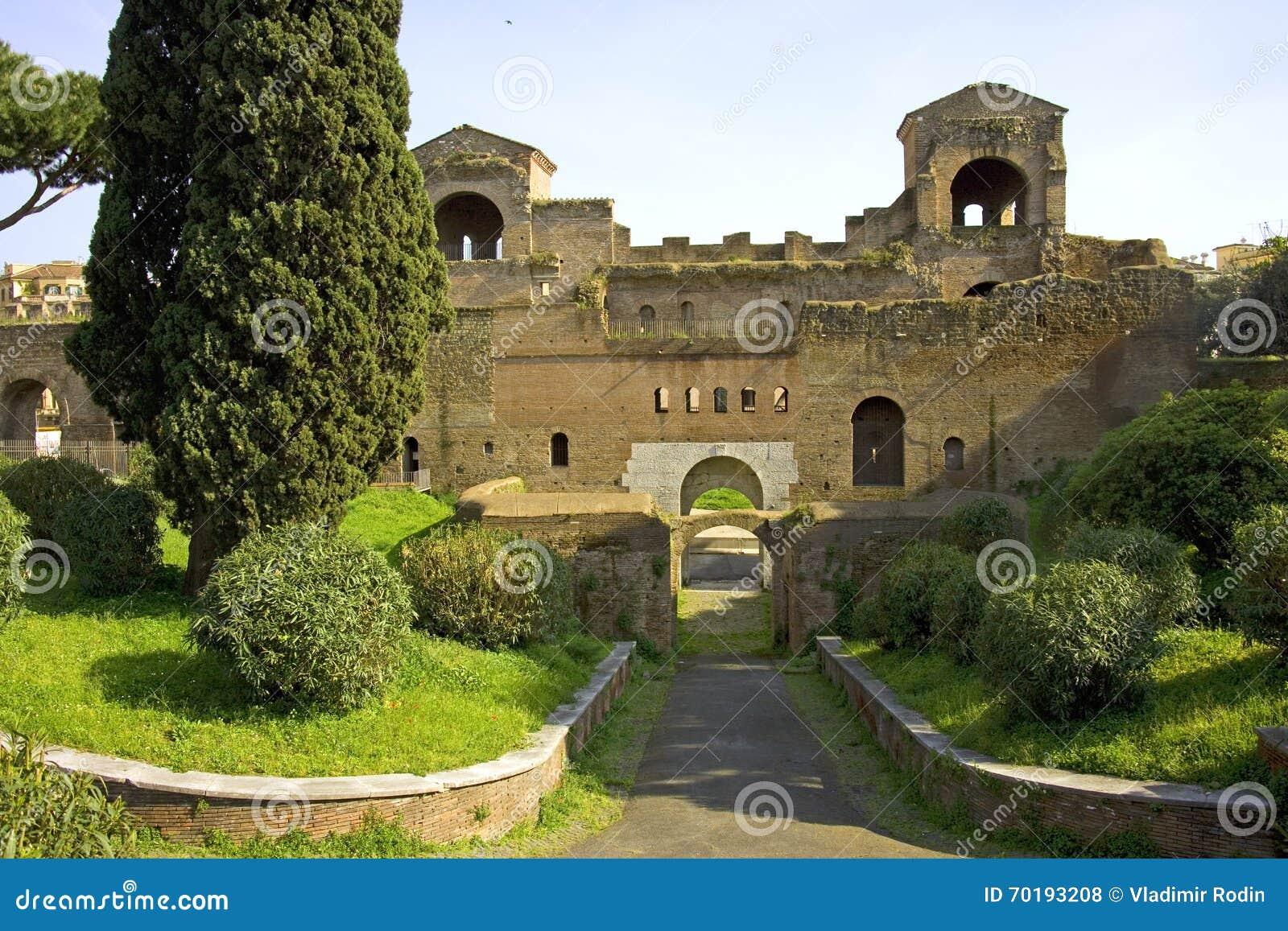 Rome Italien områdesarkeologi fördärvar utgrävningmurverket