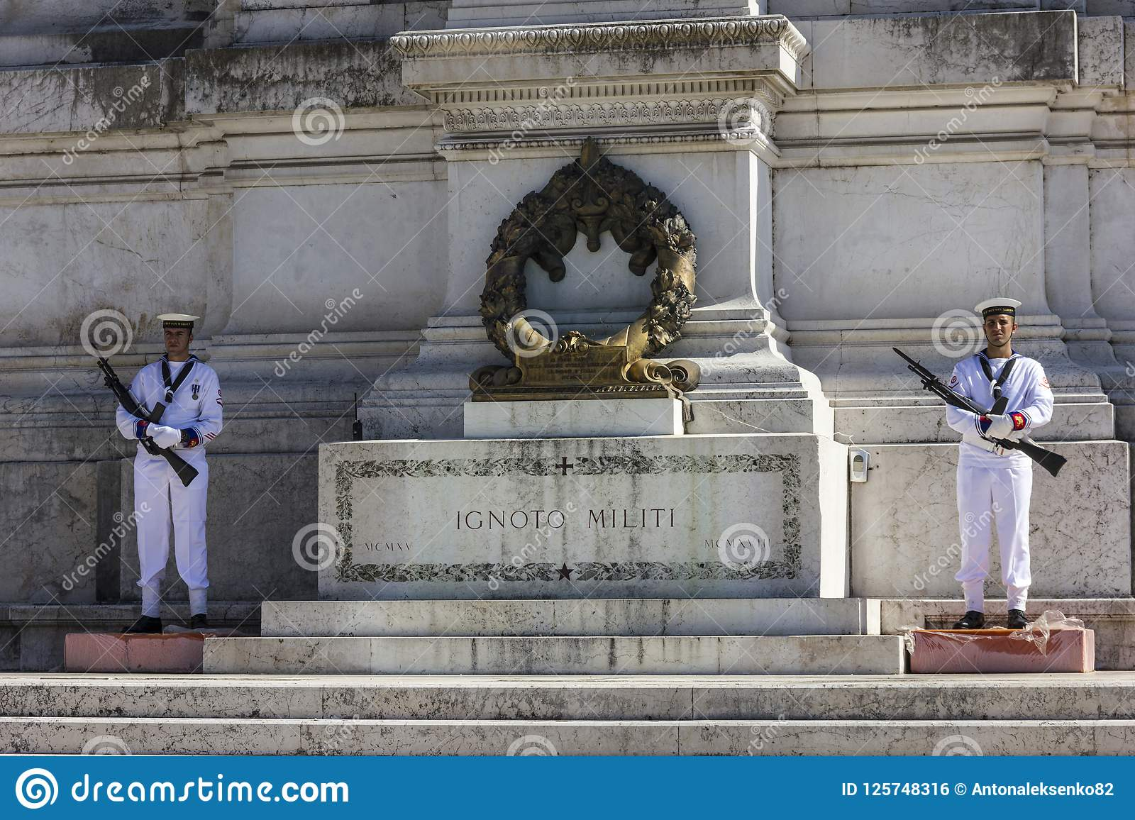 Rome/Italy - August 24, 2018: Honour Guard of the Tomb of the Unknown Soldier on the Altar of the Fatherland