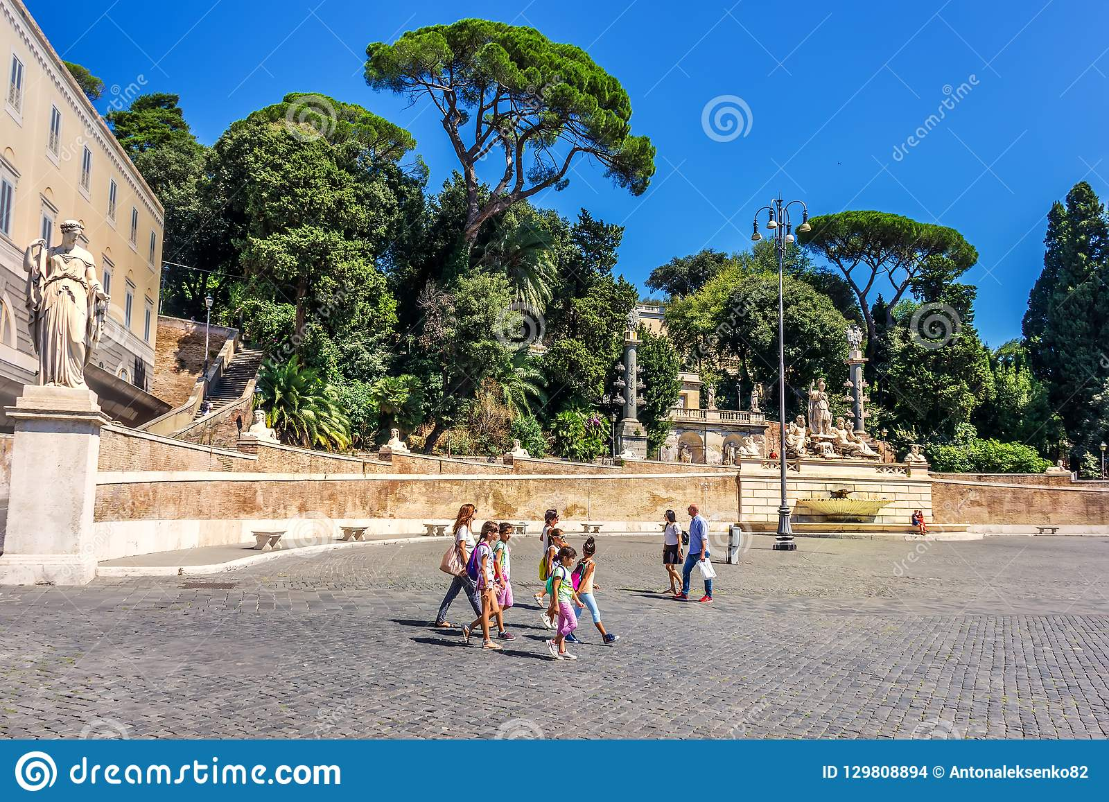 Rome/Italy - 28 August, 2018: Italian schoolgirls walking in Piazza del Popolo near the terrace